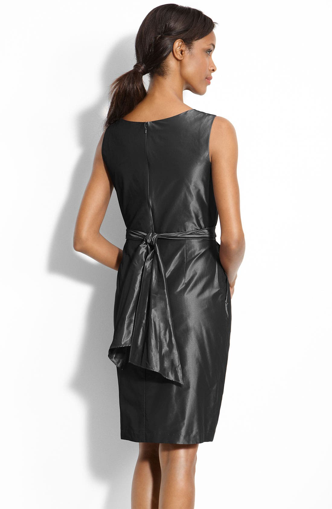 Alternate Image 2  - Alex Evenings Beaded Waist Taffeta Sheath Dress