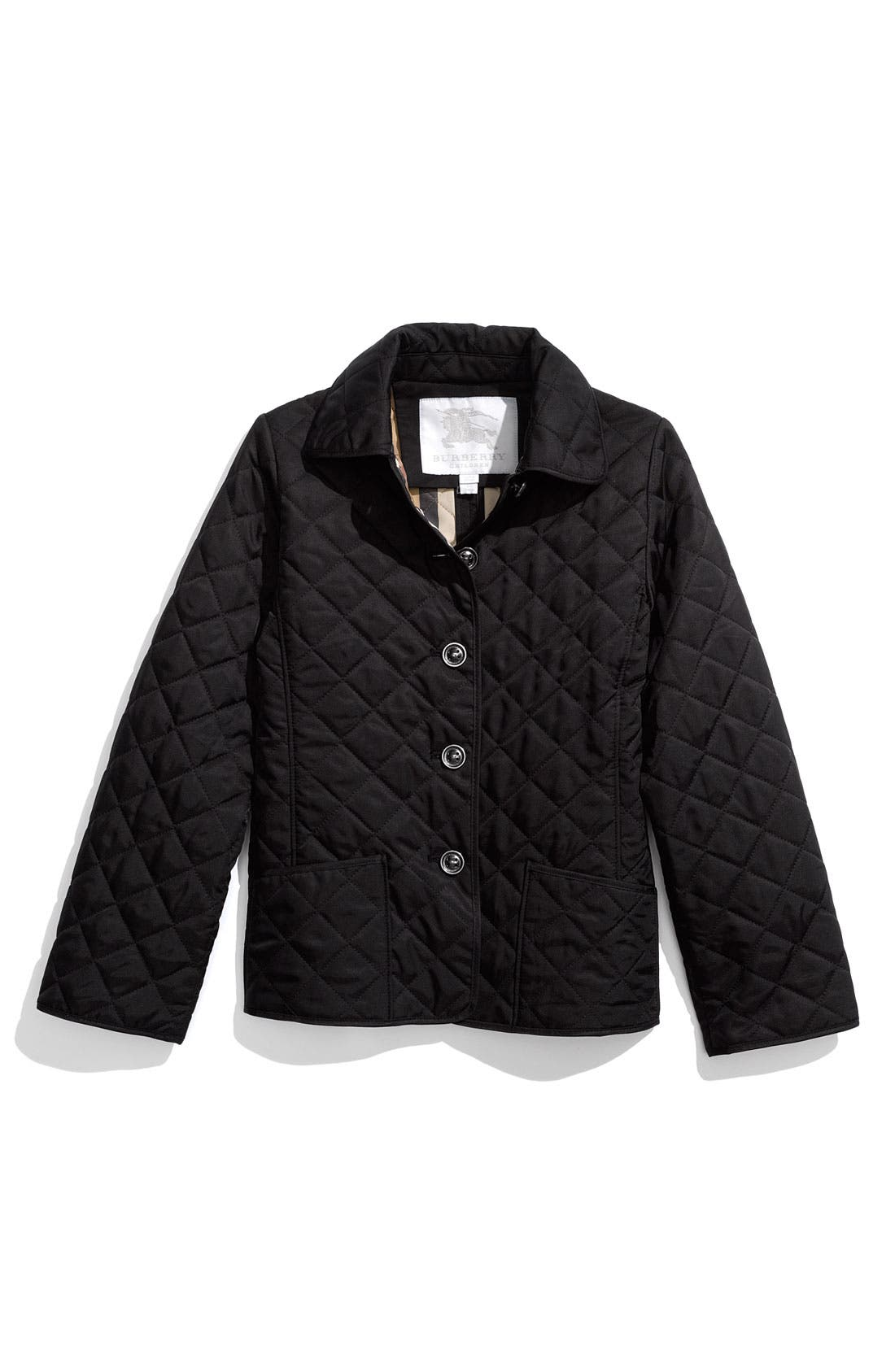 Main Image - Burberry Quilted Jacket (Big Girls)