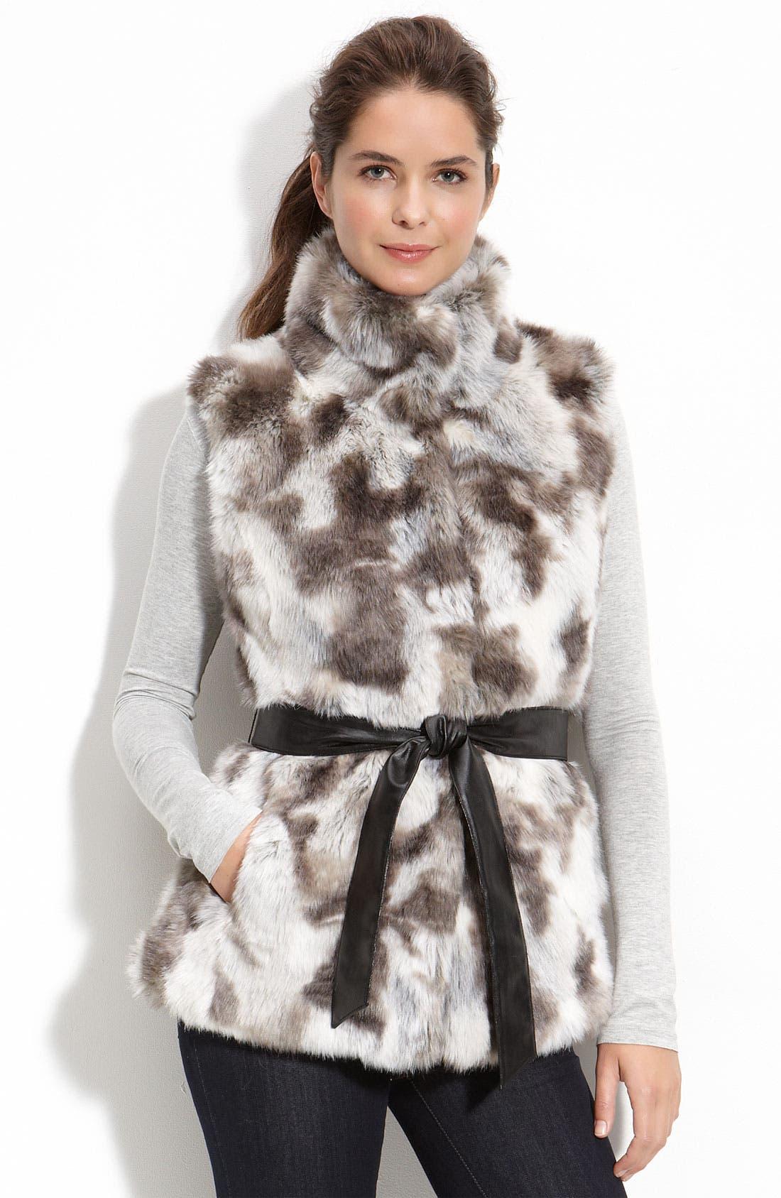 Main Image - Kristen Blake Belted Faux Fur Vest (Petite)