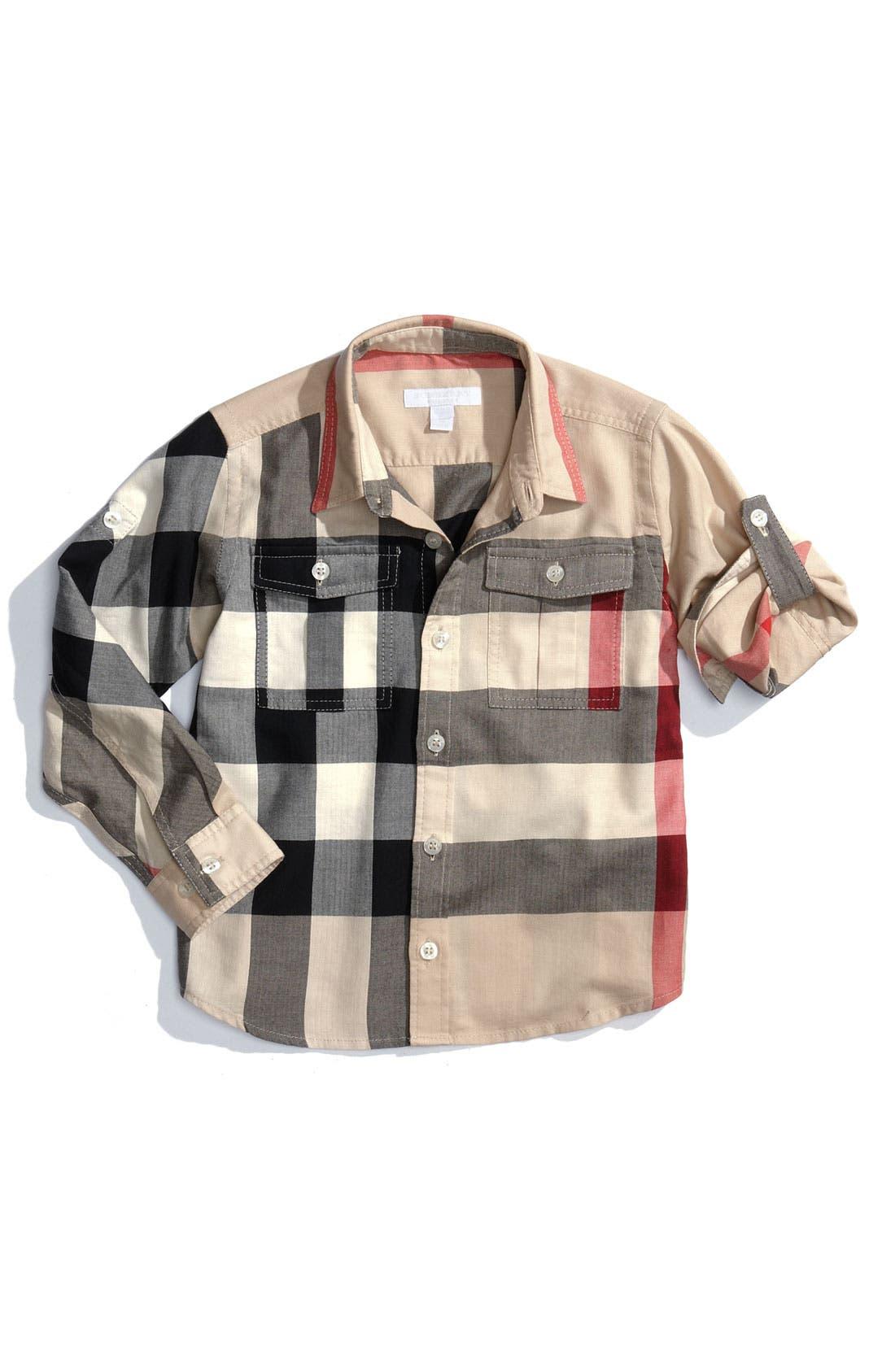 Main Image - Burberry Check Print Woven Shirt (Little Boys)