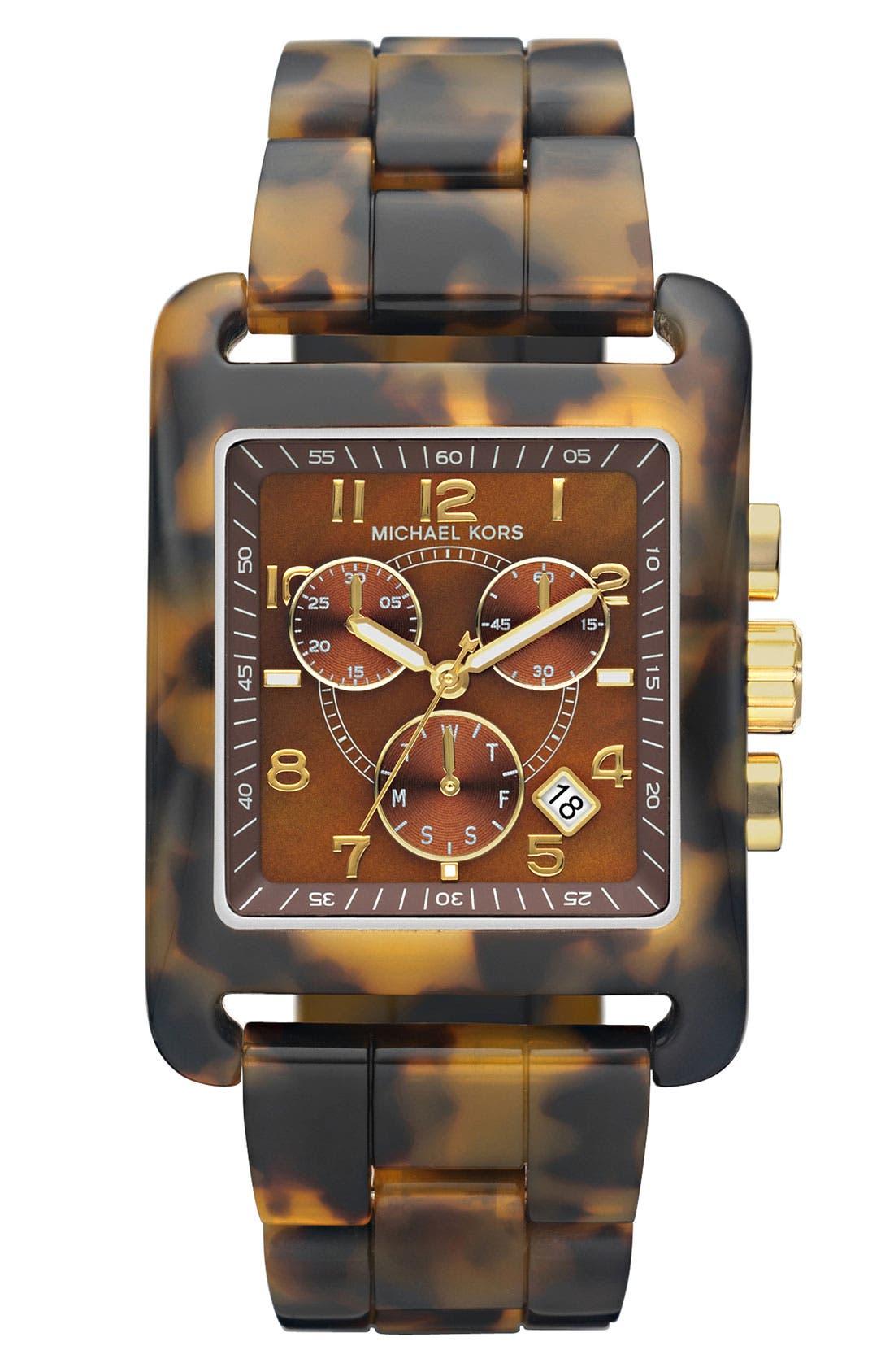 Main Image - Michael Kors 'Davenport' Tortoiseshell Chronograph Watch