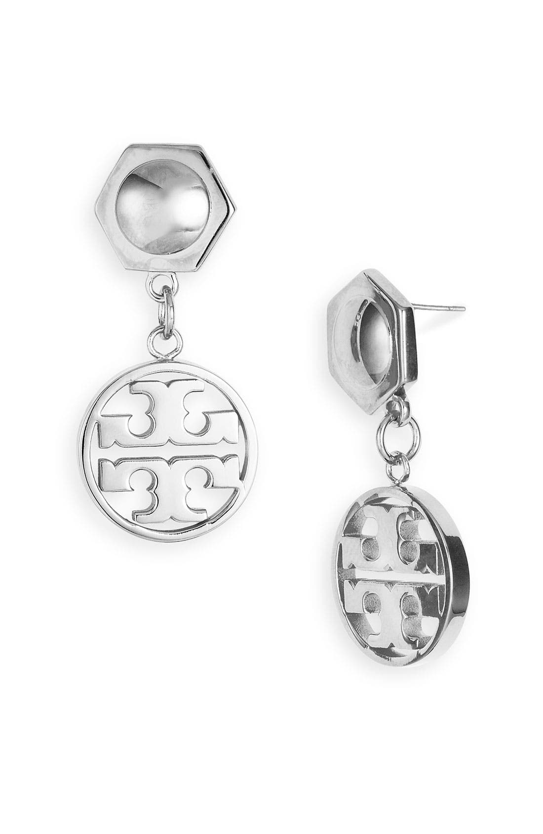 Alternate Image 1 Selected - Tory Burch Circle Logo Drop Earrings