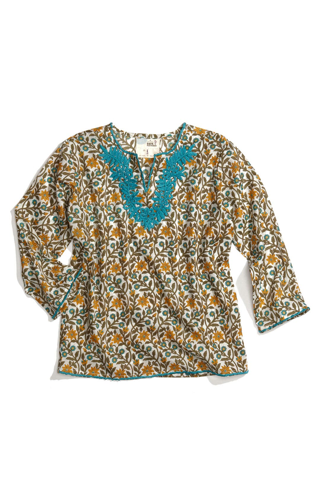 Alternate Image 1 Selected - Peek 'Embroidered Khurti' Top (Big Girls)