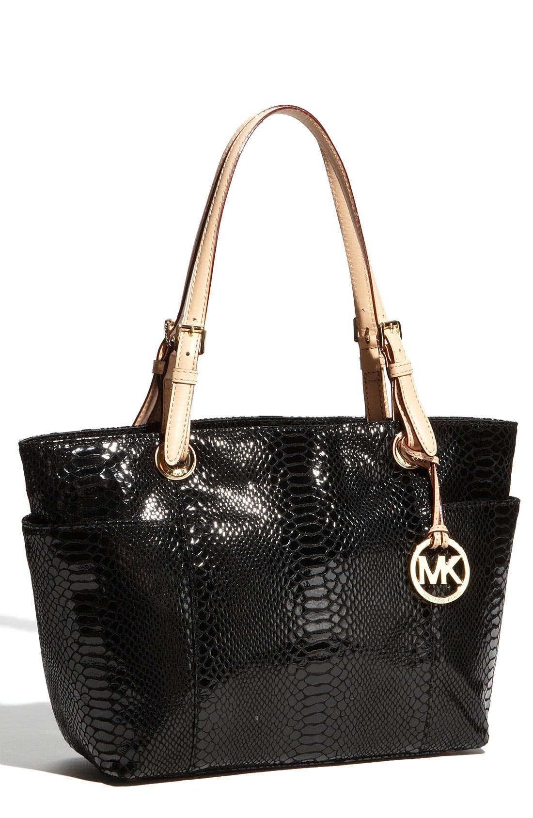Main Image - MICHAEL Michael Kors 'Jet Set' Python Embossed Patent Tote, Small