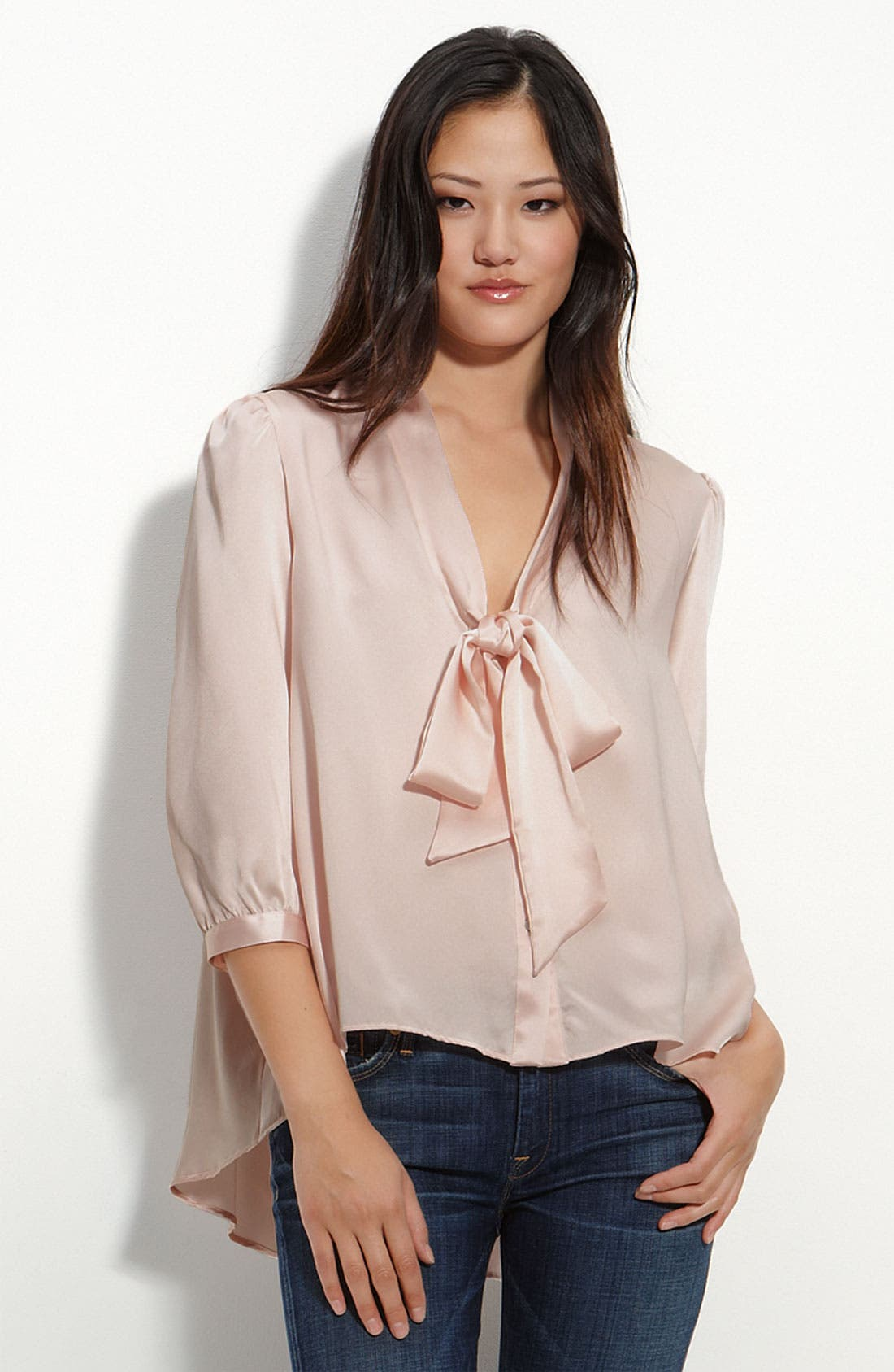 Main Image - Remain Tie Neck Satin Blouse