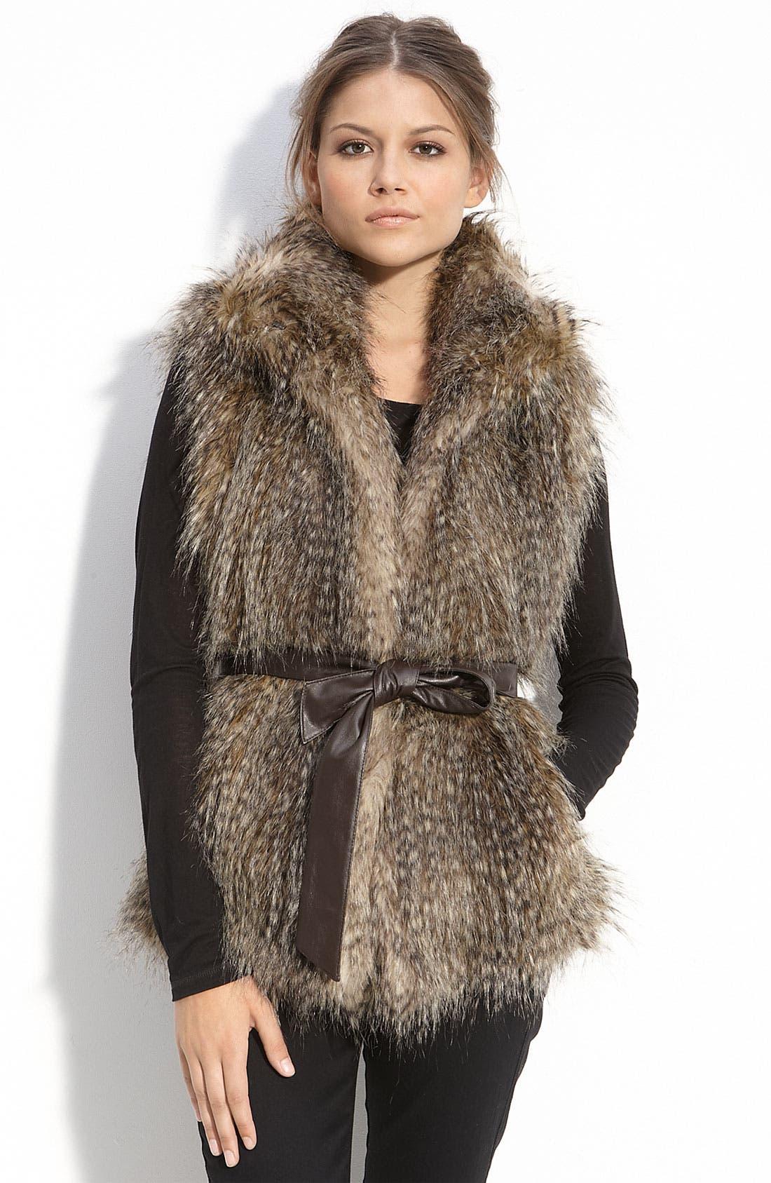 Main Image - Kristen Blake Belted Faux Fur Vest