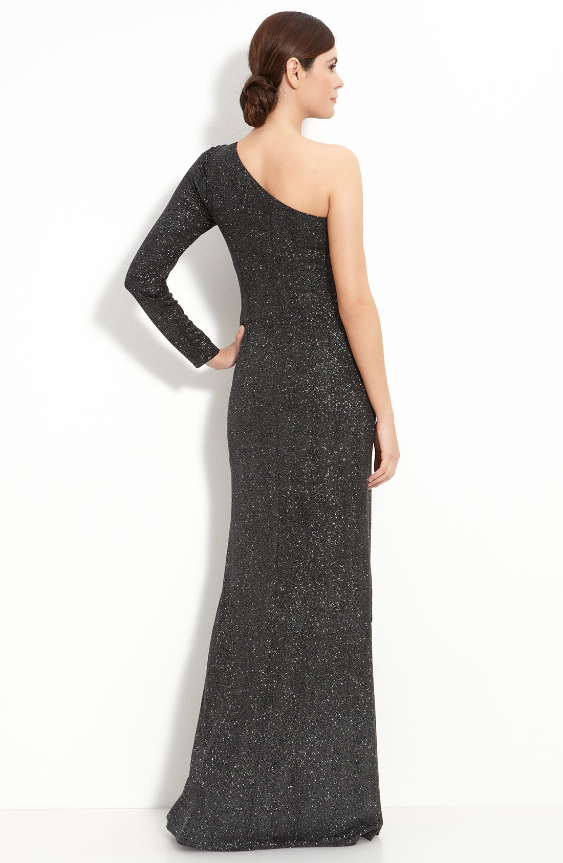 Alternate Image 2  - David Meister Metallic Jersey One Shoulder Gown
