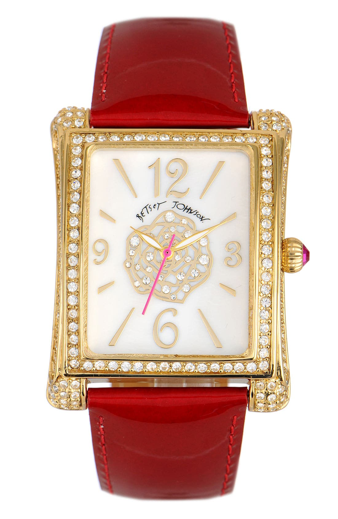 Alternate Image 1 Selected - Betsey Johnson 'Bling Bling Time' Square Case Watch