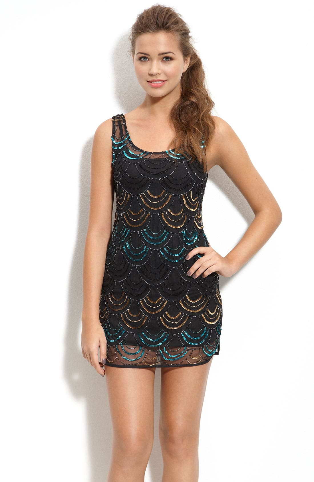 Main Image - Angie 'Deco' Scallop Beaded Sleeveless Minidress (Juniors)