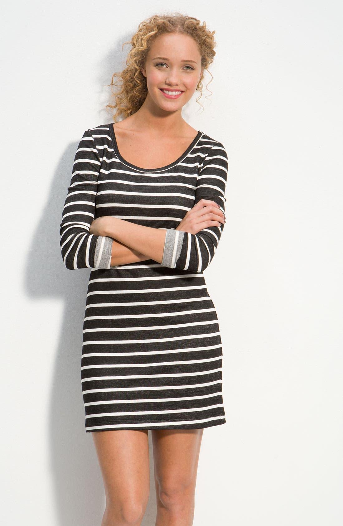 Alternate Image 1 Selected - Lush Fitted Nautical Stripe Dress (Juniors)