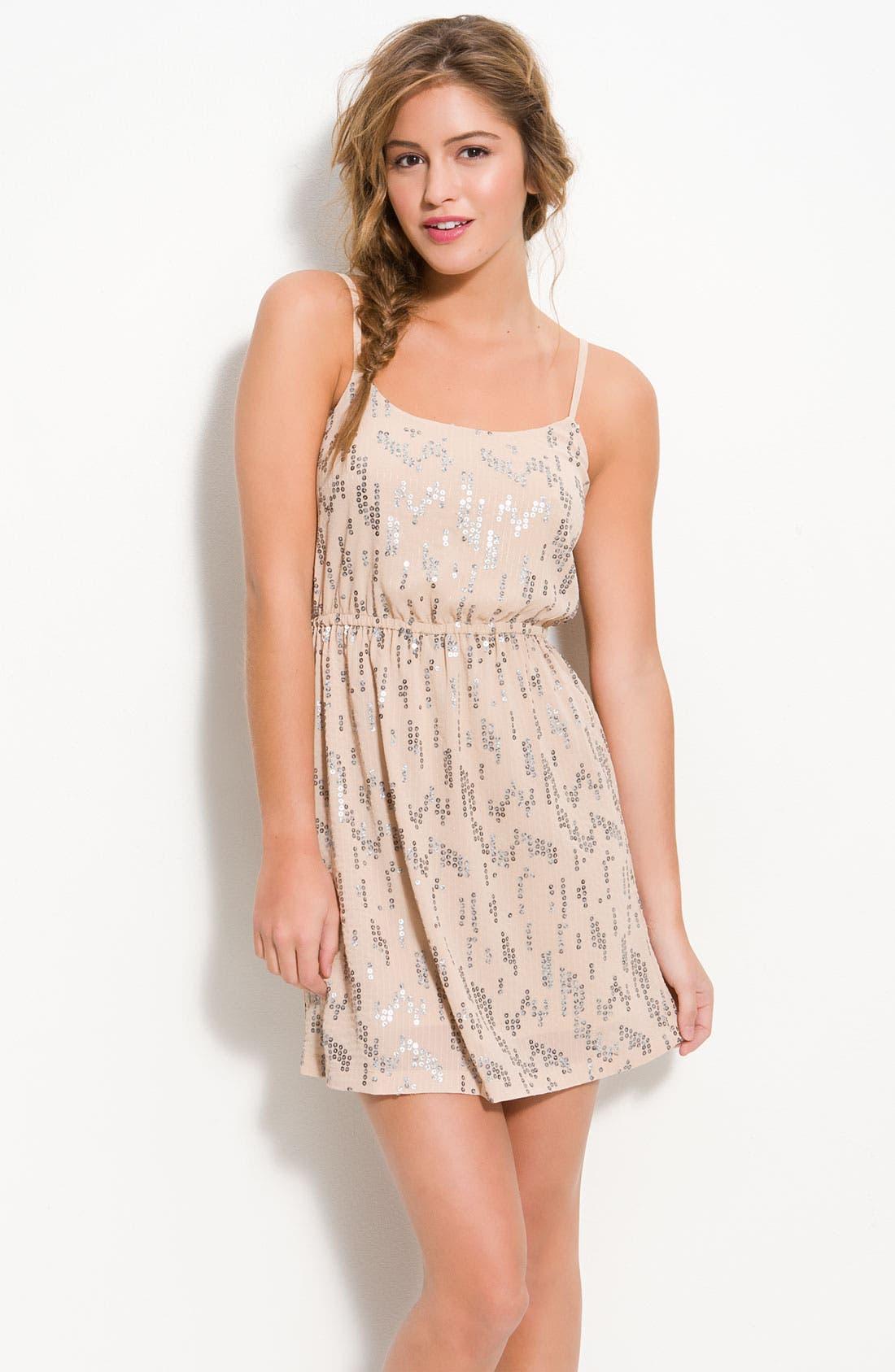 Main Image - Lush Spaced Sequins Blouson Dress (Juniors)