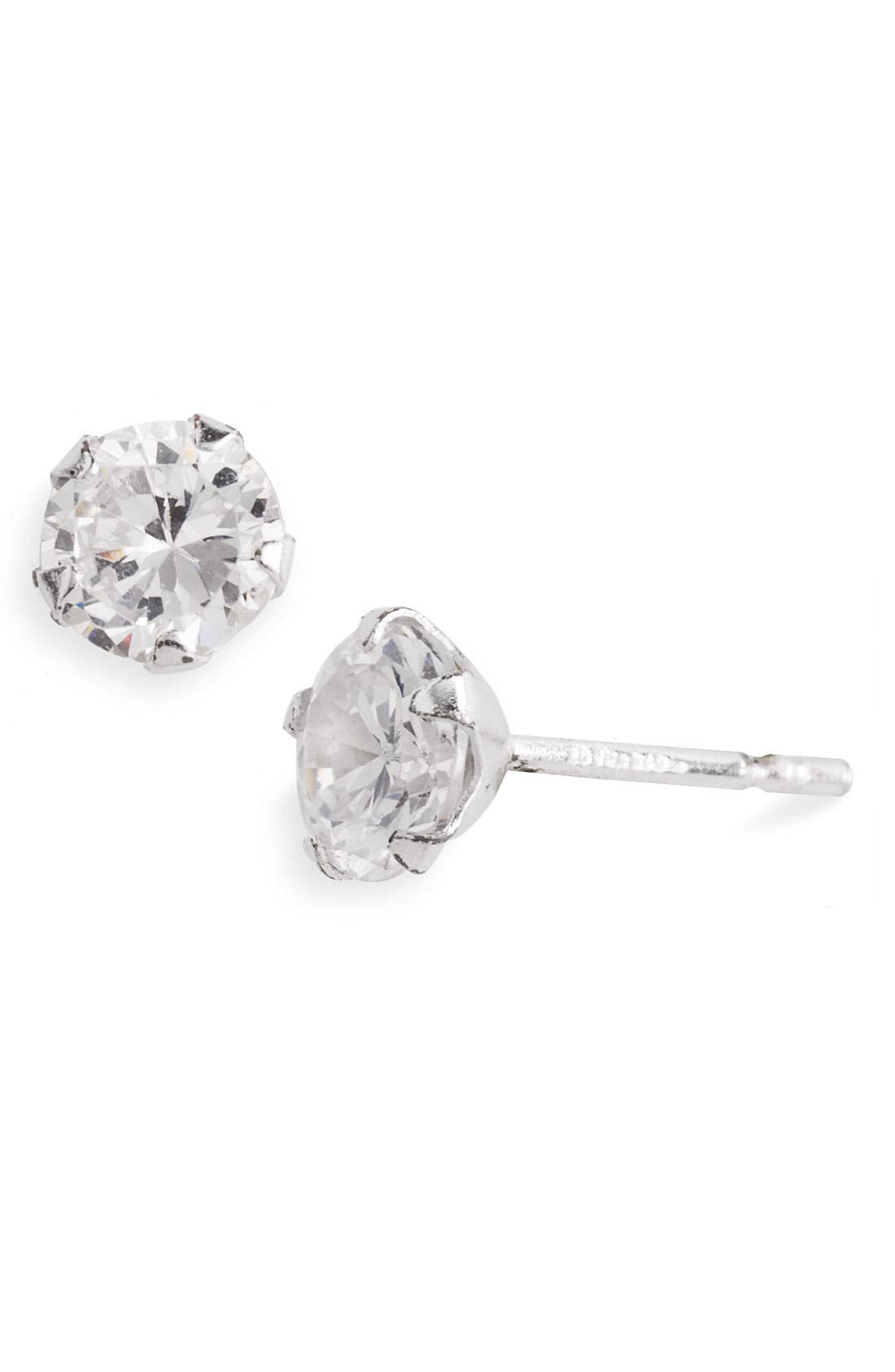 Main Image - Tomas Medium Cubic Zirconia & Sterling Silver Stud Earrings (Juniors)