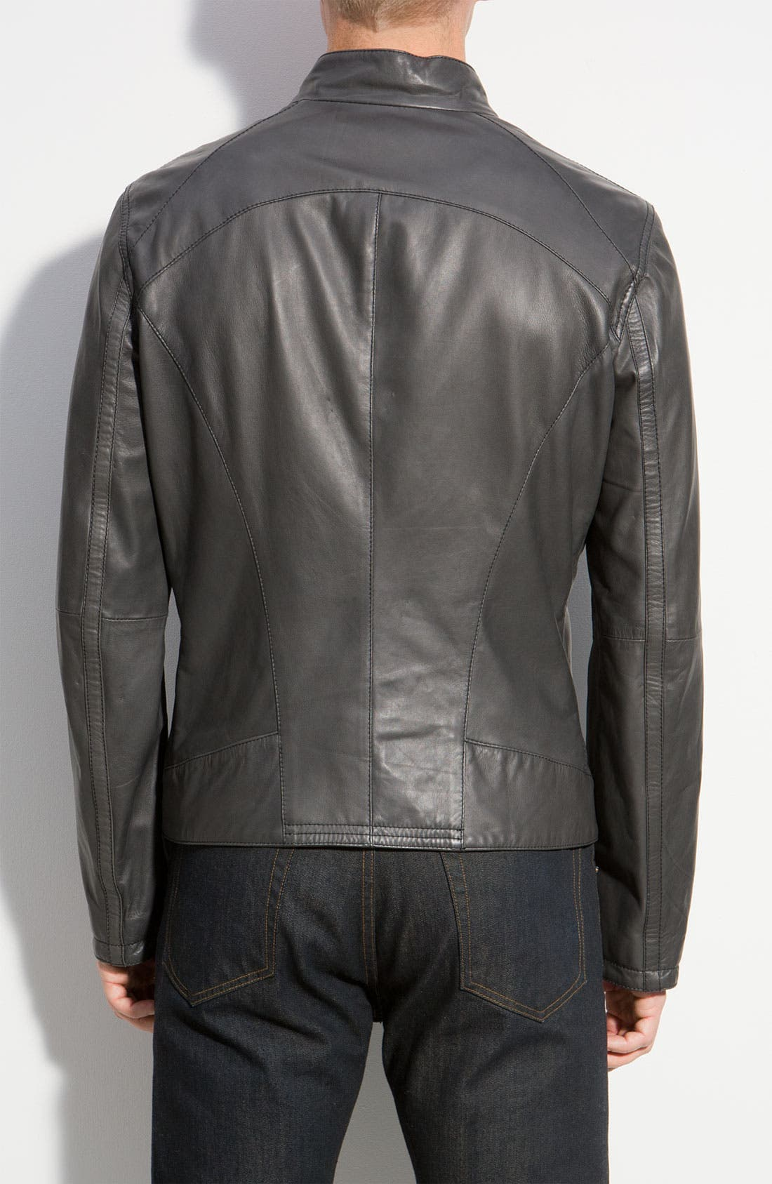 Alternate Image 2  - Armani Collezioni Leather Jacket