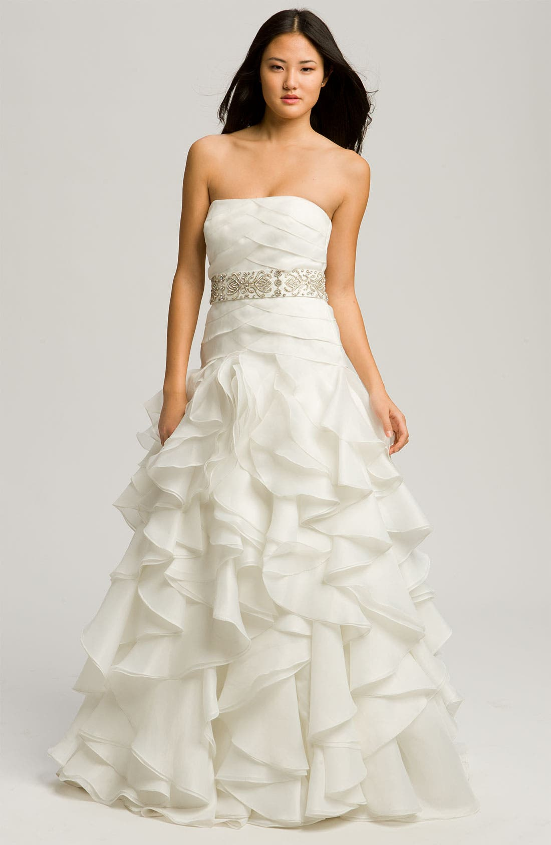 Alternate Image 1 Selected - Faviana 'Chelsea' Strapless Satin-Faced Organza Gown