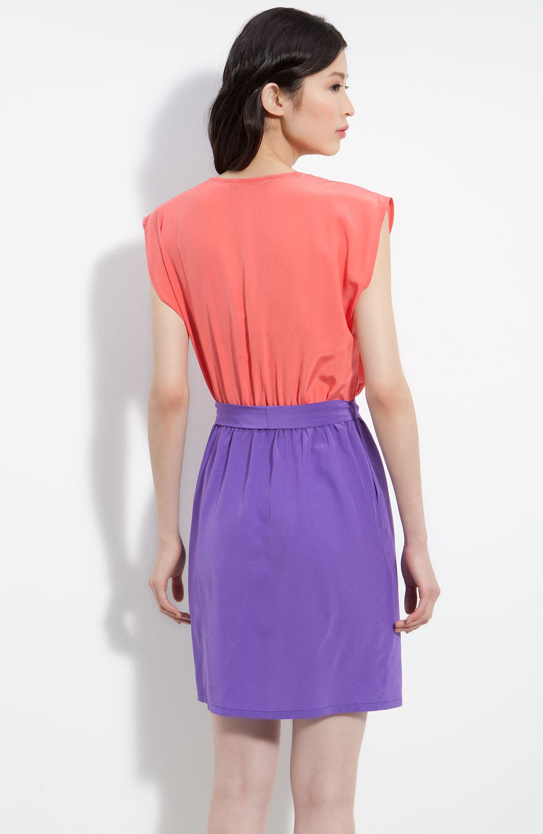 Alternate Image 2  - Charlie Jade 'April' Pleated Surplice Colorblock Silk Dress