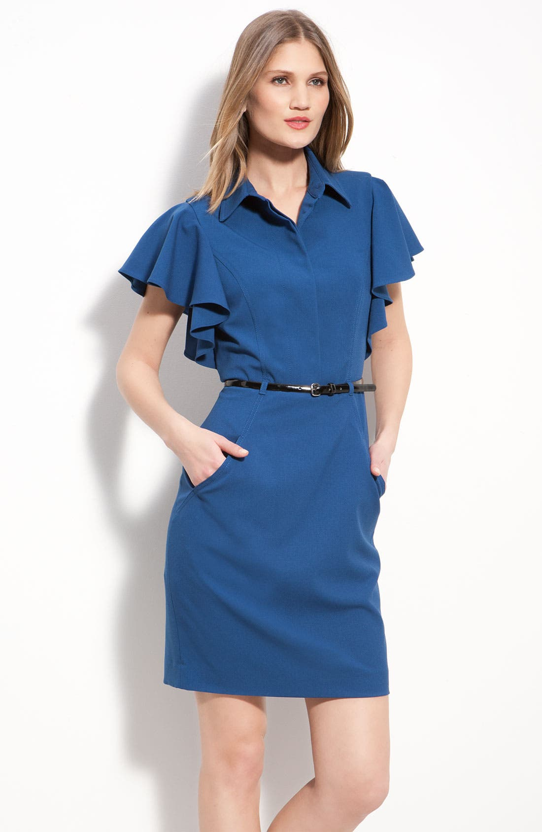 Main Image - Calvin Klein Belted Flutter Sleeve Shirtdress