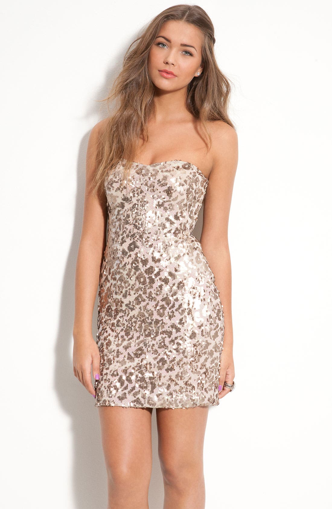 Alternate Image 1 Selected - As U Wish 'Secret Charm' Pattern Sequin Dress (Juniors)