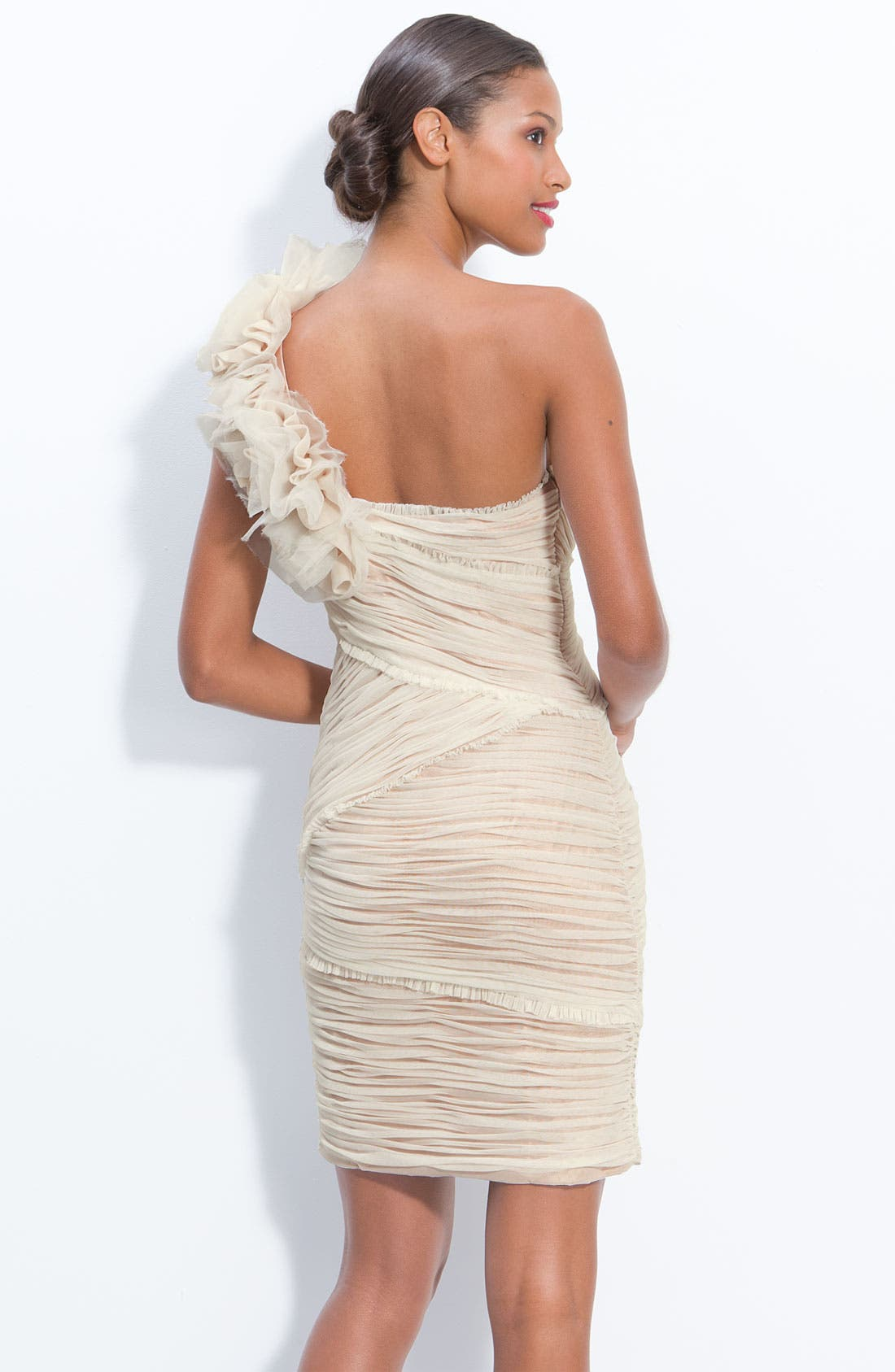 Alternate Image 2  - JS Collections Ruched Mesh One Shoulder Dress