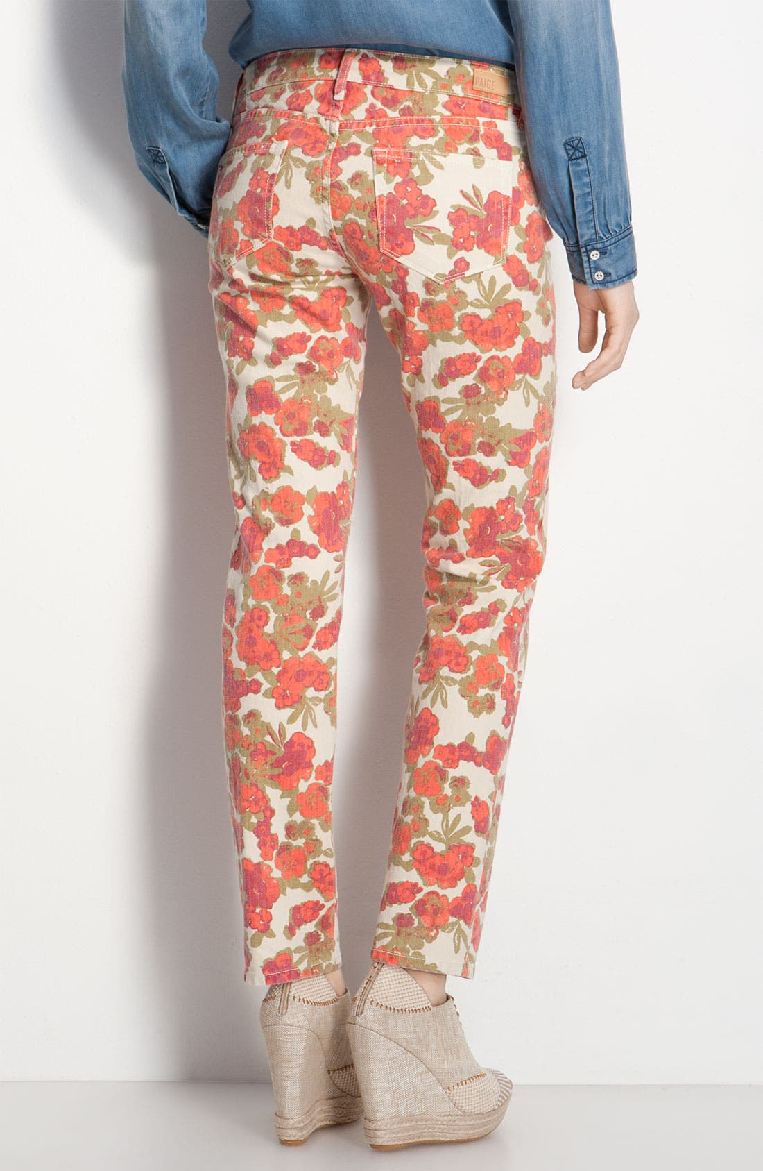 Alternate Image 1 Selected - Paige Denim 'Skyline' Floral Skinny Ankle Jeans (Chello Ivory Print)