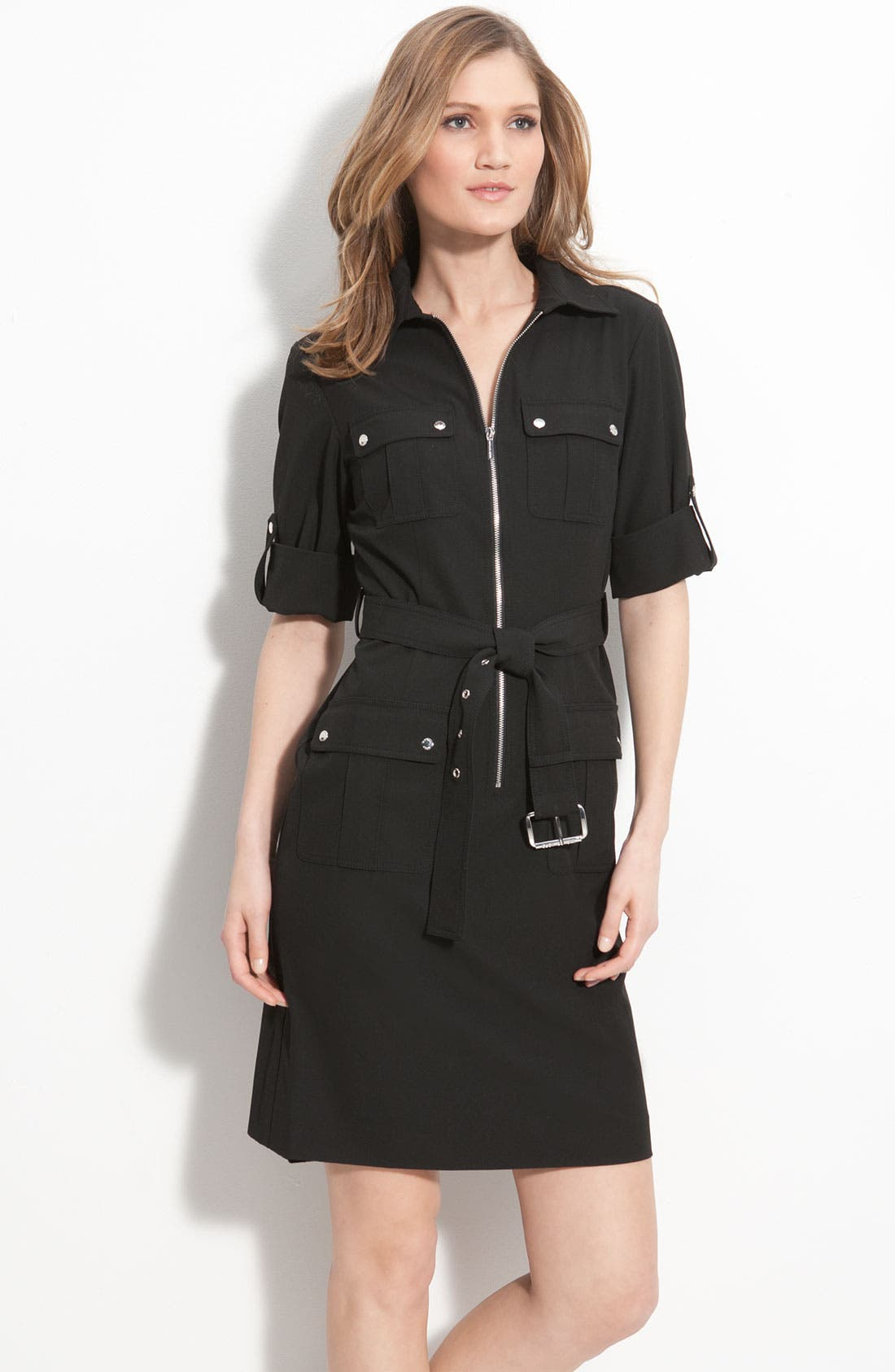 Main Image - MICHAEL Michael Kors Roll Sleeve Belted Shirtdress (Regular & Petite)