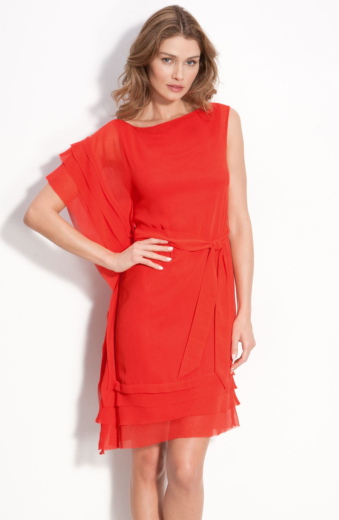 Main Image - Vince Camuto Asymmetrical Layered Dress with Sash Tie