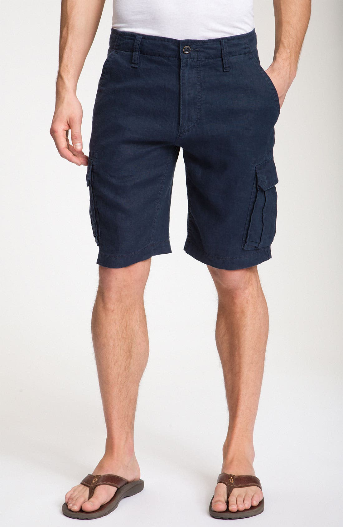 Alternate Image 1 Selected - BOSS Black 'Crew' Linen Cargo Shorts