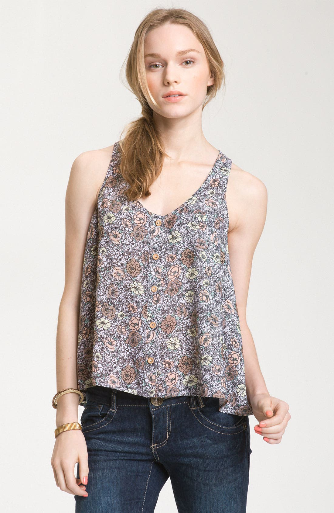 Alternate Image 1 Selected - Mimi Chica Print Button Front Trapeze Tank (Juniors)