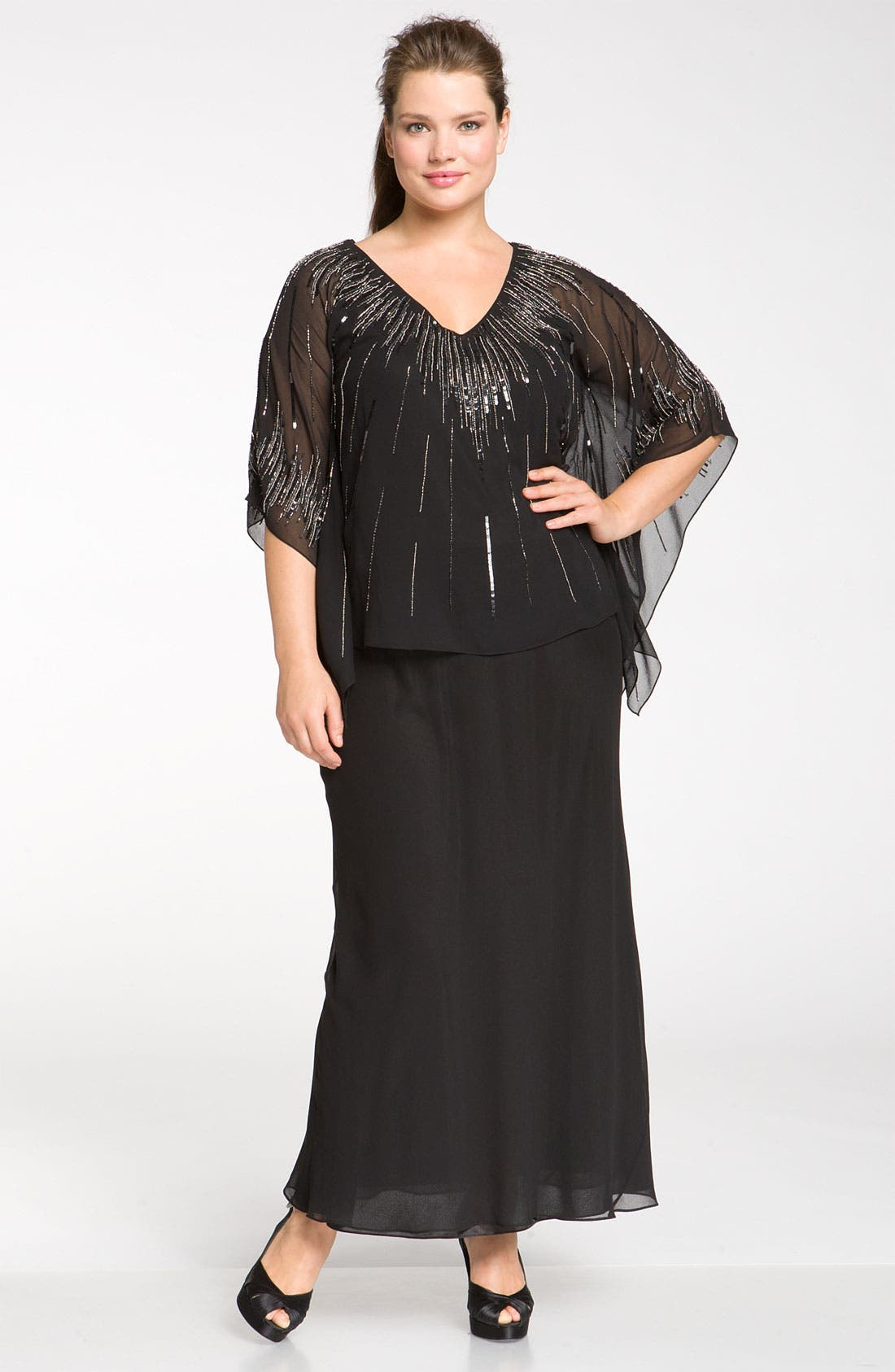 Main Image - J Kara Beaded Chiffon Butterfly Sleeve Dress (Plus)