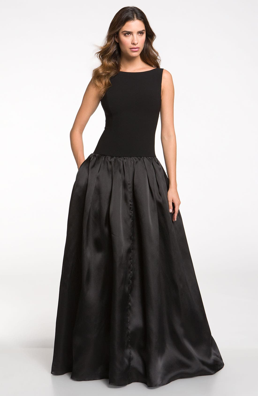 Main Image - St. John Collection Crepe Marocain & Organza Gown