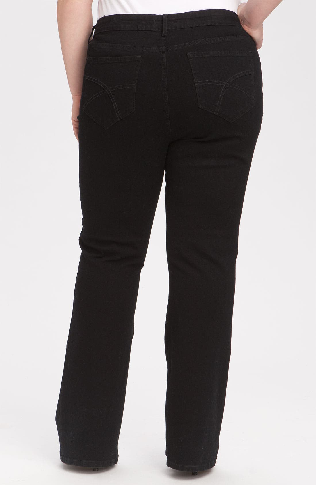 Alternate Image 2  - NYDJ 'Barbara' Stretch Bootcut Jeans (Black) (Plus Size & Petite Plus)