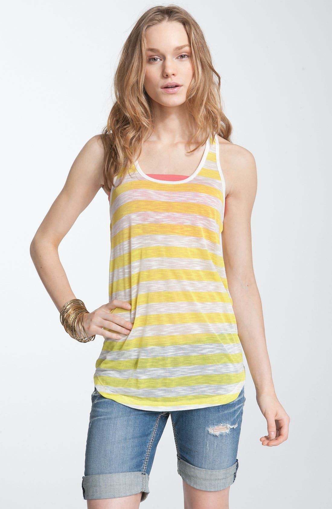 Alternate Image 1 Selected - Chloe K Sheer Stripe Racerback Tank (Juniors)