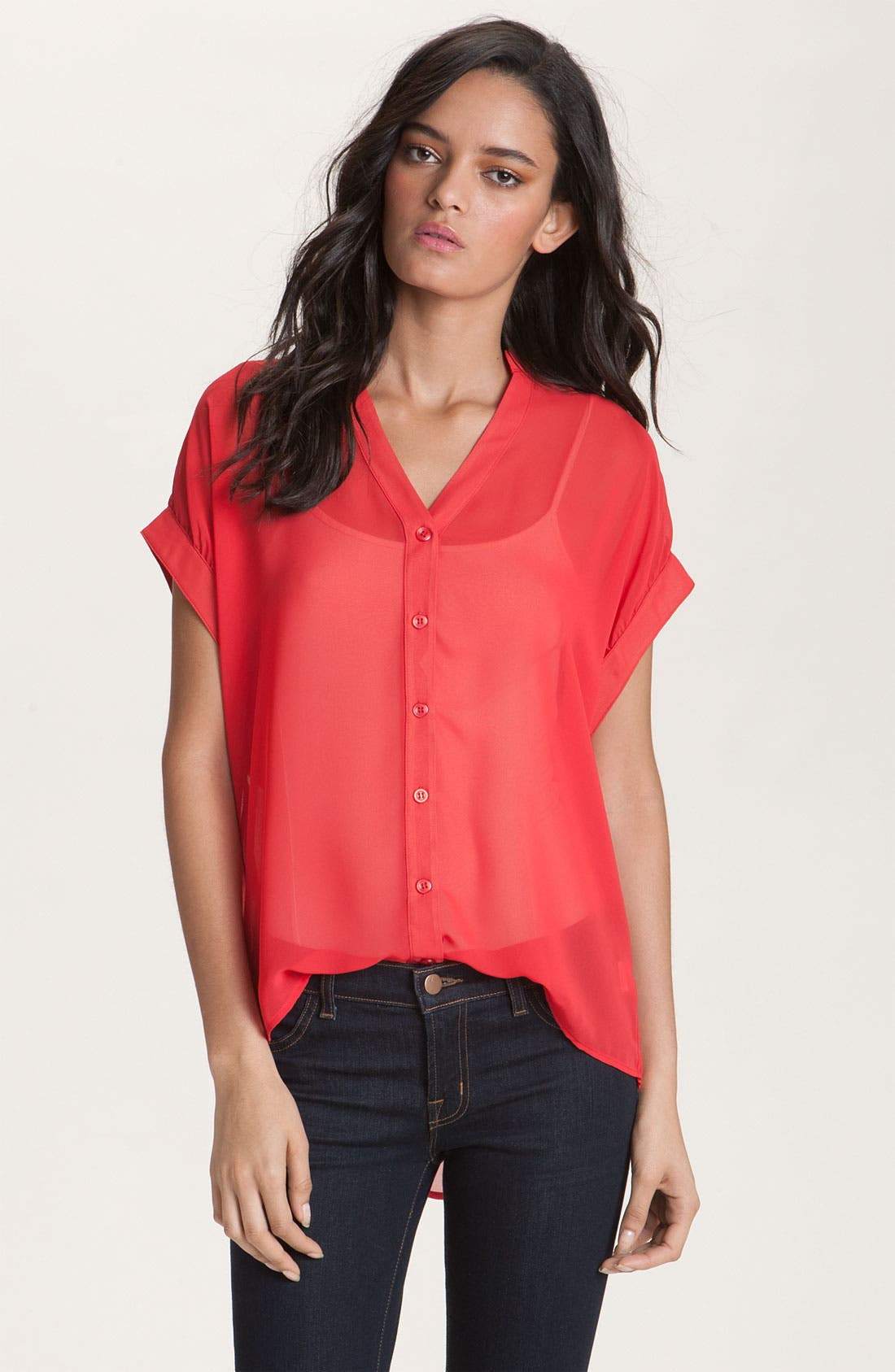 Alternate Image 1 Selected - Red Haute Slouchy Mandarin Collar Sheer Shirt