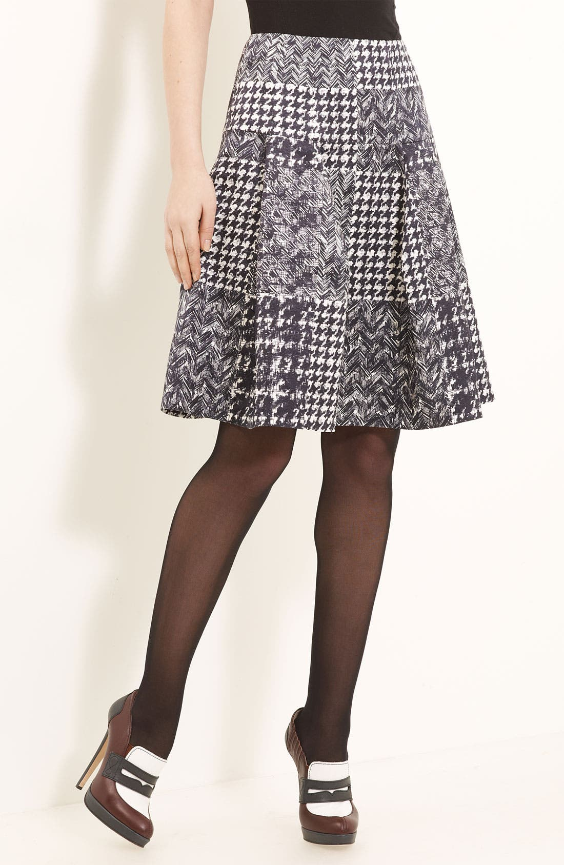 Main Image - Oscar de la Renta Tweed & Matelassé Patchwork Skirt