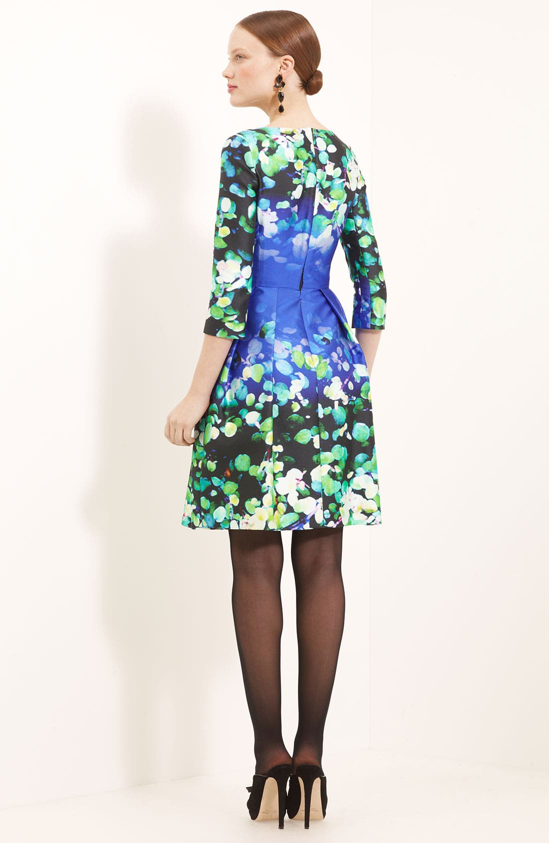 Alternate Image 2  - Oscar de la Renta Leaf Print Silk & Cotton Dress