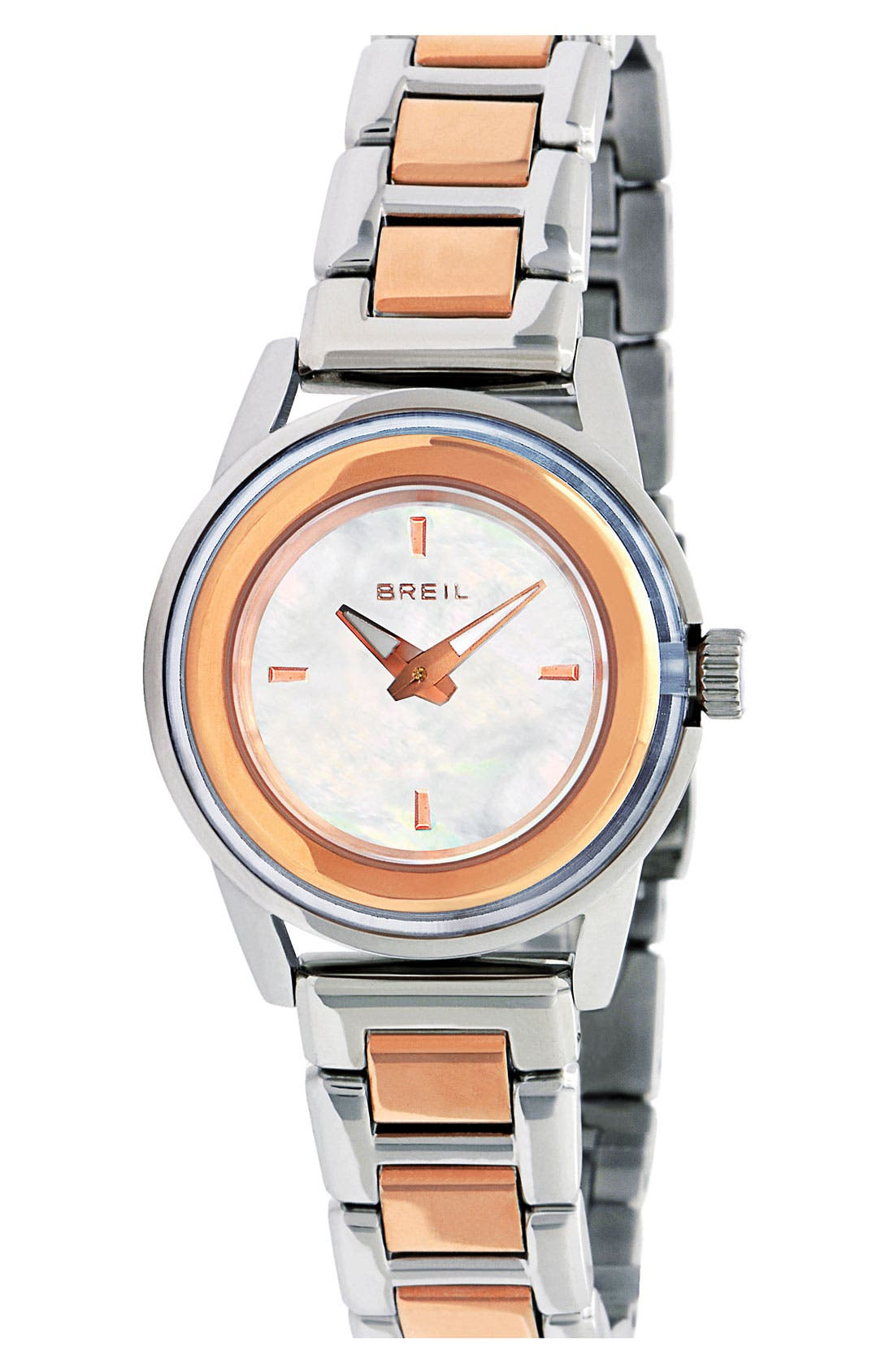 Main Image - Breil 'Orchestra' Round Two Tone Bracelet Watch, 28mm
