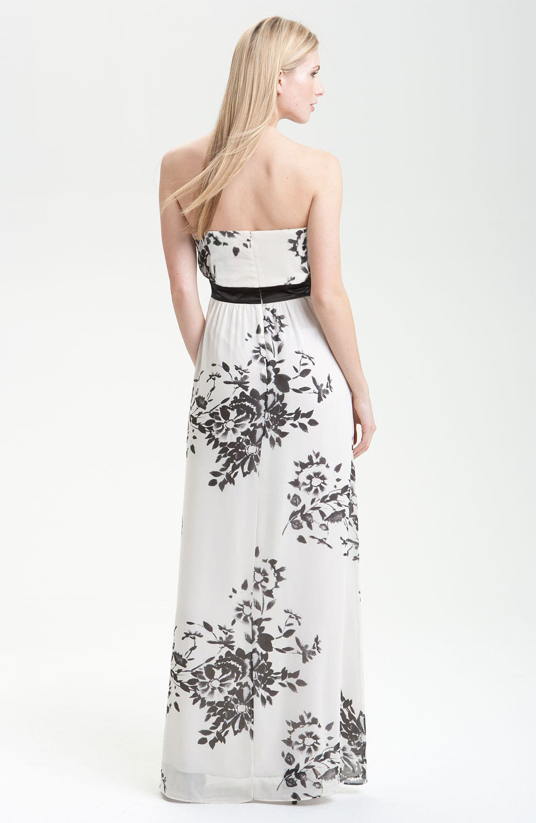 Alternate Image 2  - Max & Cleo Floral Print Strapless Gown