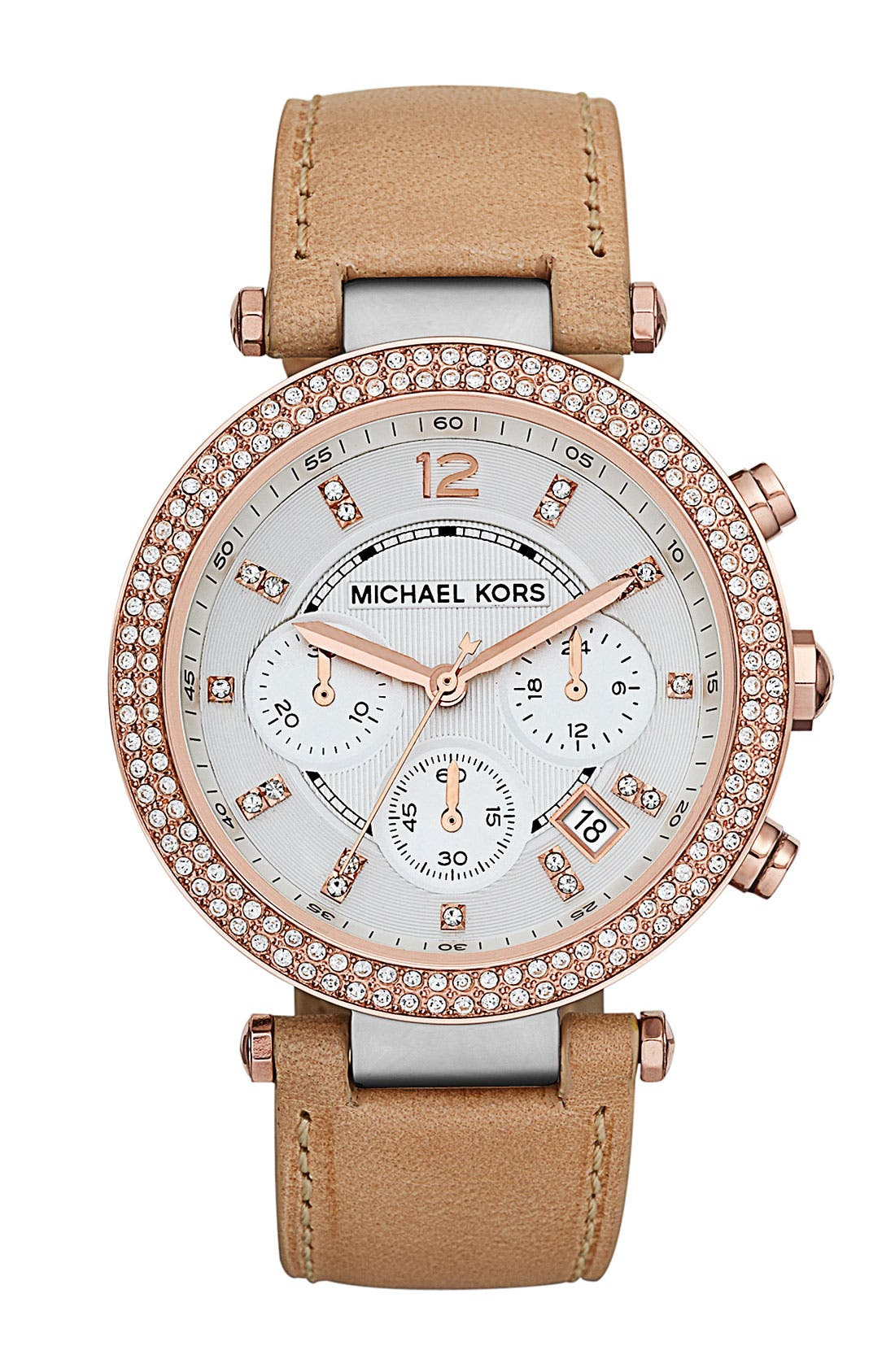 Alternate Image 1 Selected - Michael Kors 'Parker' Chronograph Leather Watch