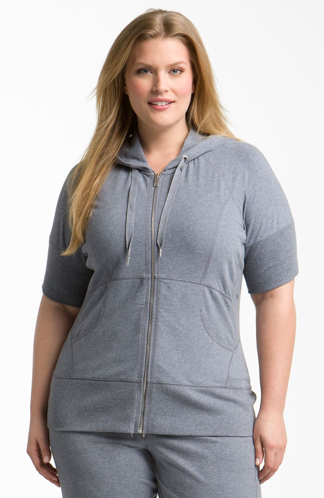 Main Image - Zella 'Supersoft' Short Sleeve Hoodie (Plus)