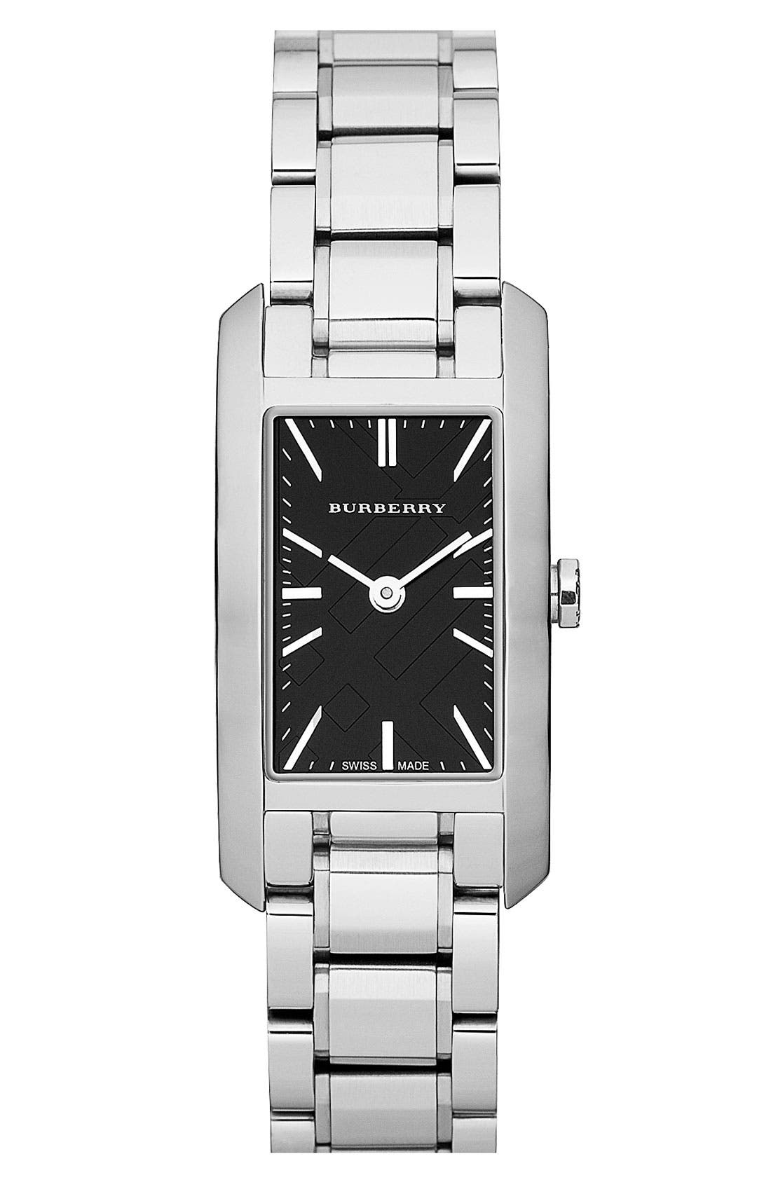 Main Image - Burberry Rectangular Bracelet Watch, 20mm x 26mm