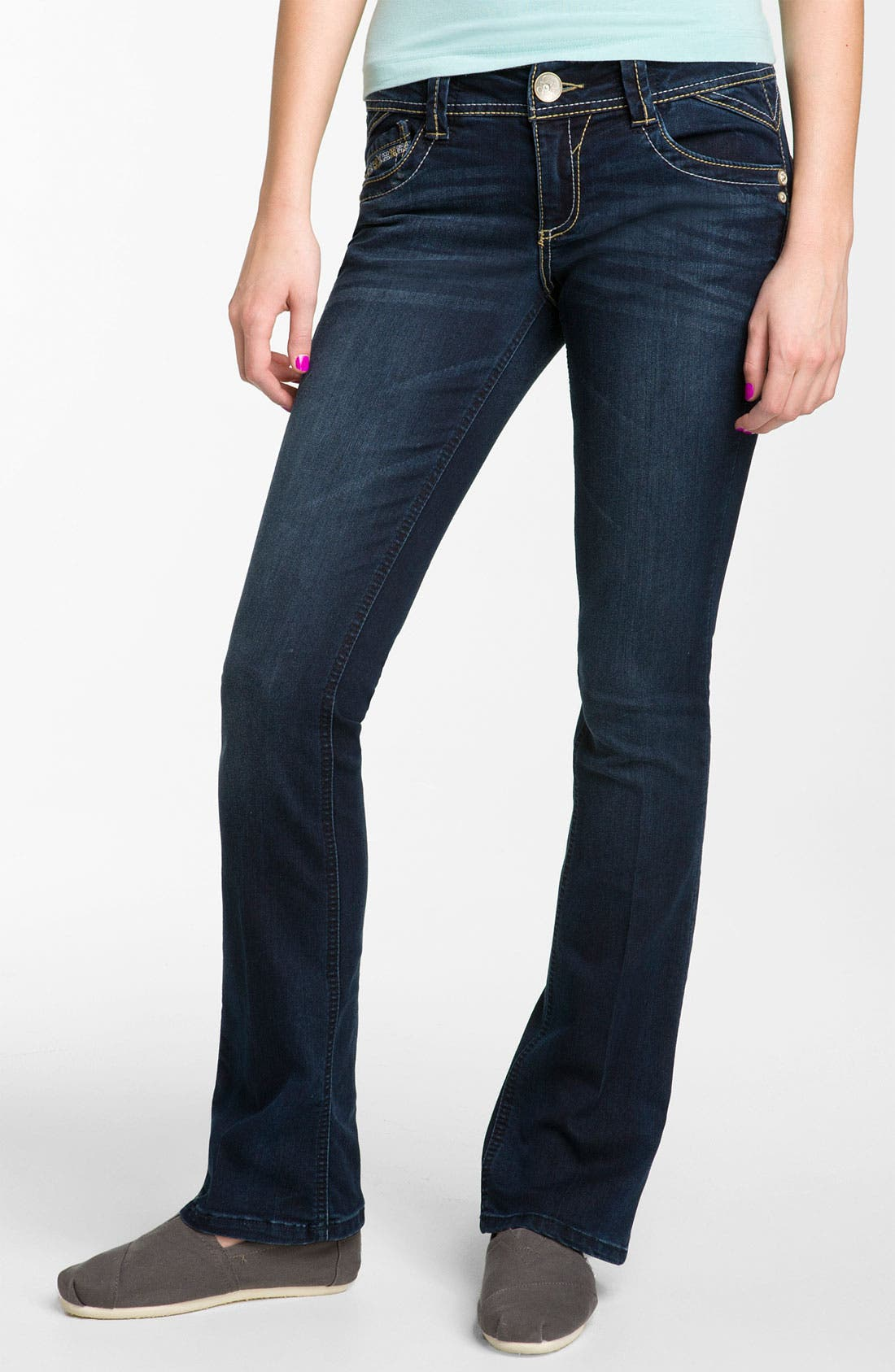 Alternate Image 2  - Artisan Crafted 'Itty Bitty' Bootcut Jeans  (Juniors)