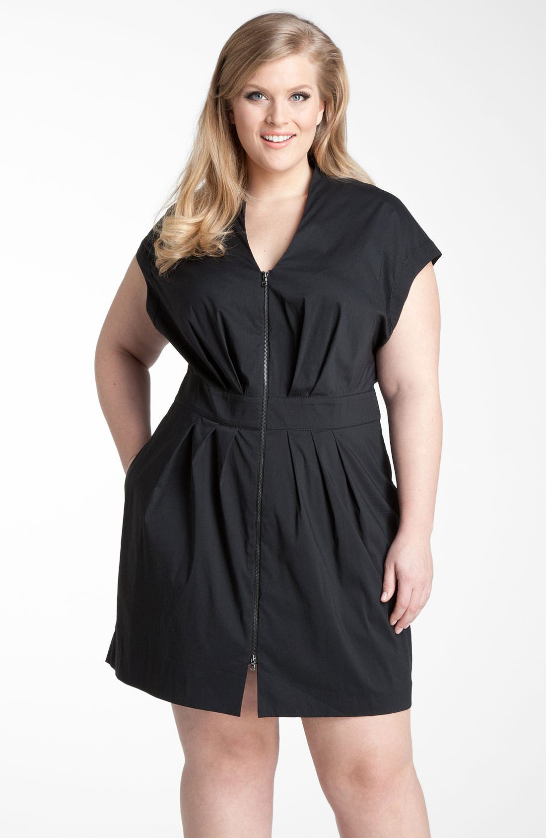 Alternate Image 1 Selected - Kenneth Cole New York Zip Shirtdress (Plus)