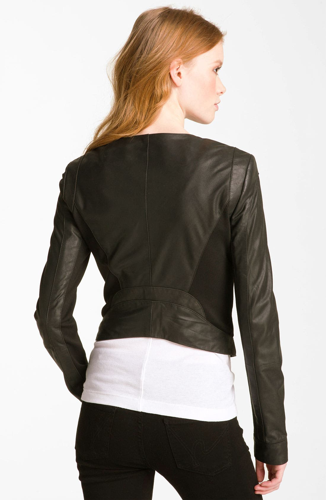 Alternate Image 2  - Bod & Christensen Leather & Ponte Crop Jacket