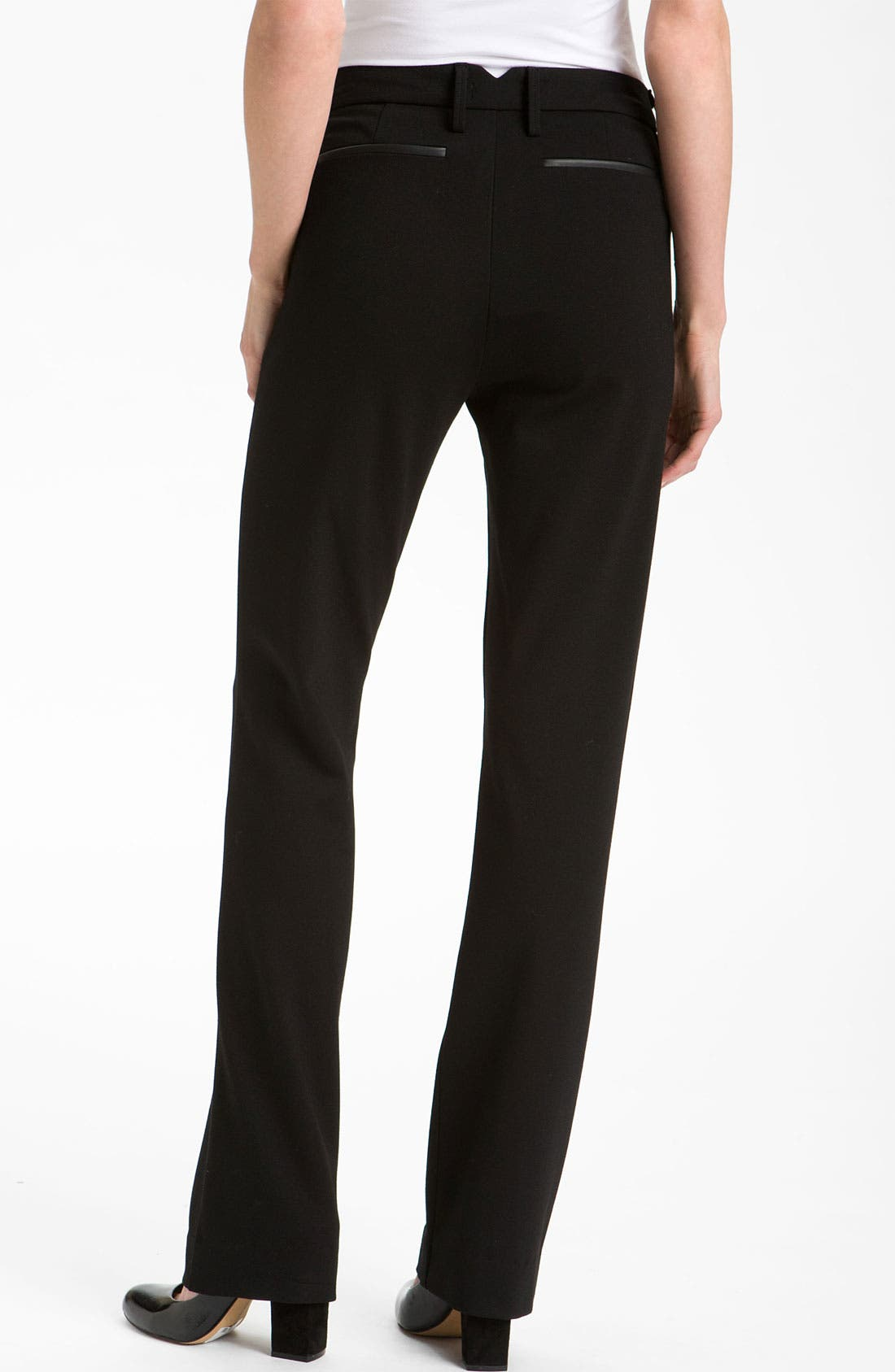 Alternate Image 2  - NYDJ 'Ryan' Faux Leather Trim Ponte Trousers