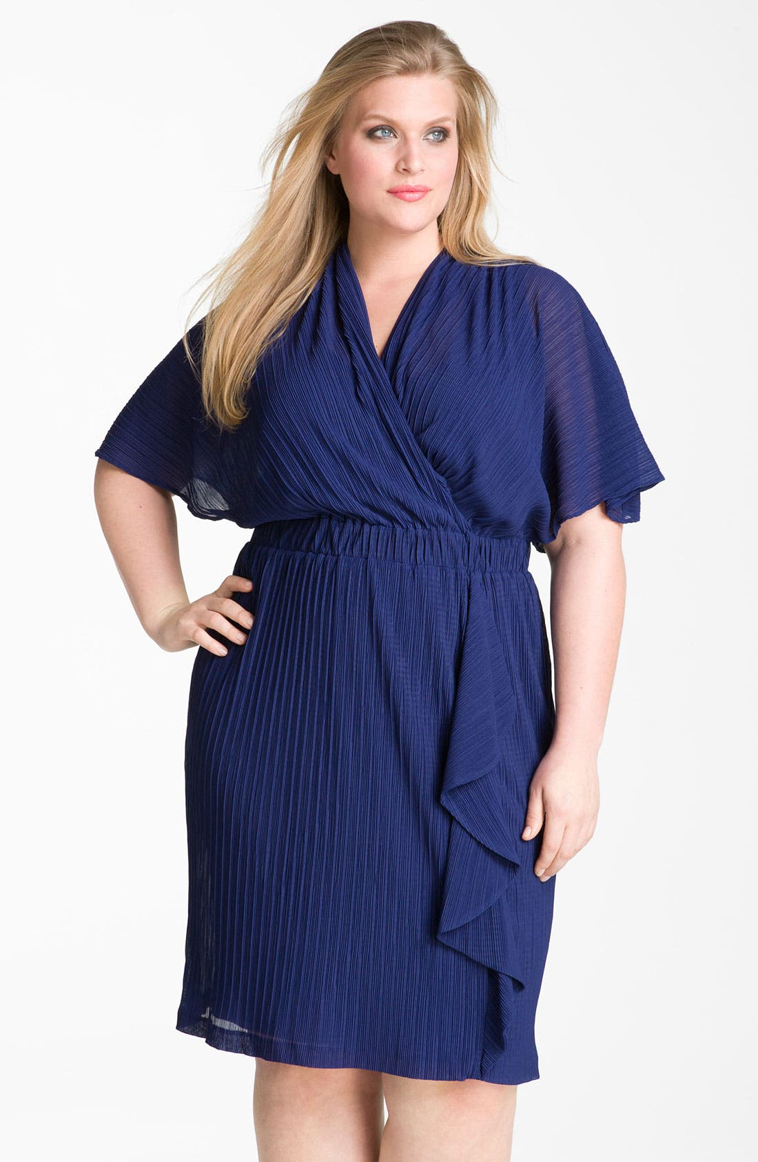 Alternate Image 1 Selected - Donna Ricco Ruffle Chiffon Dress (Plus Size)