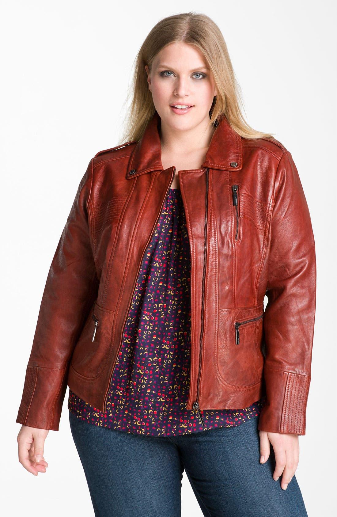Alternate Image 1 Selected - Bernardo Leather Scuba Jacket (Plus) (Online Exclusive)