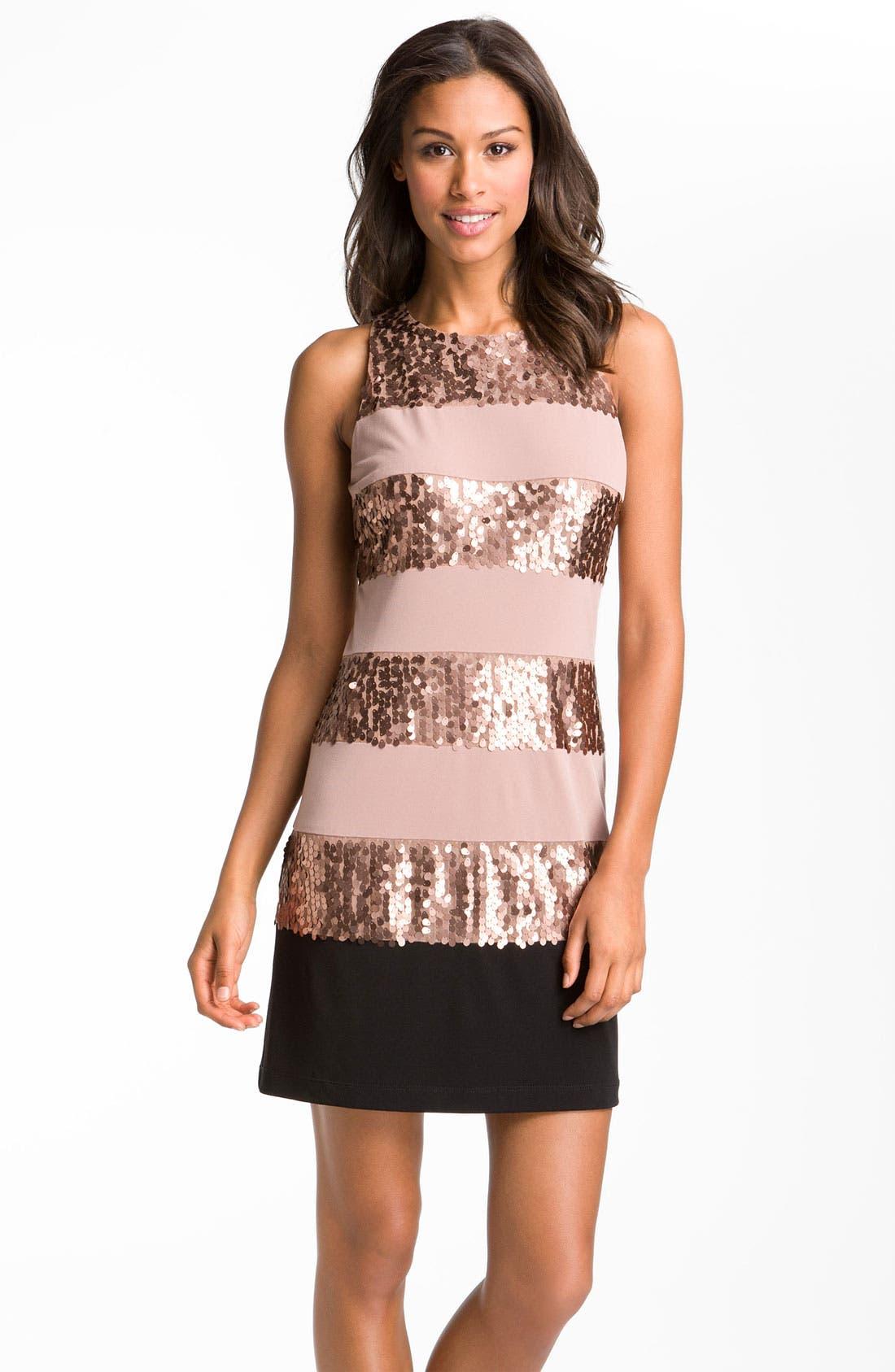 Main Image - Donna Ricco Sleeveless Stripe & Sequin Dress
