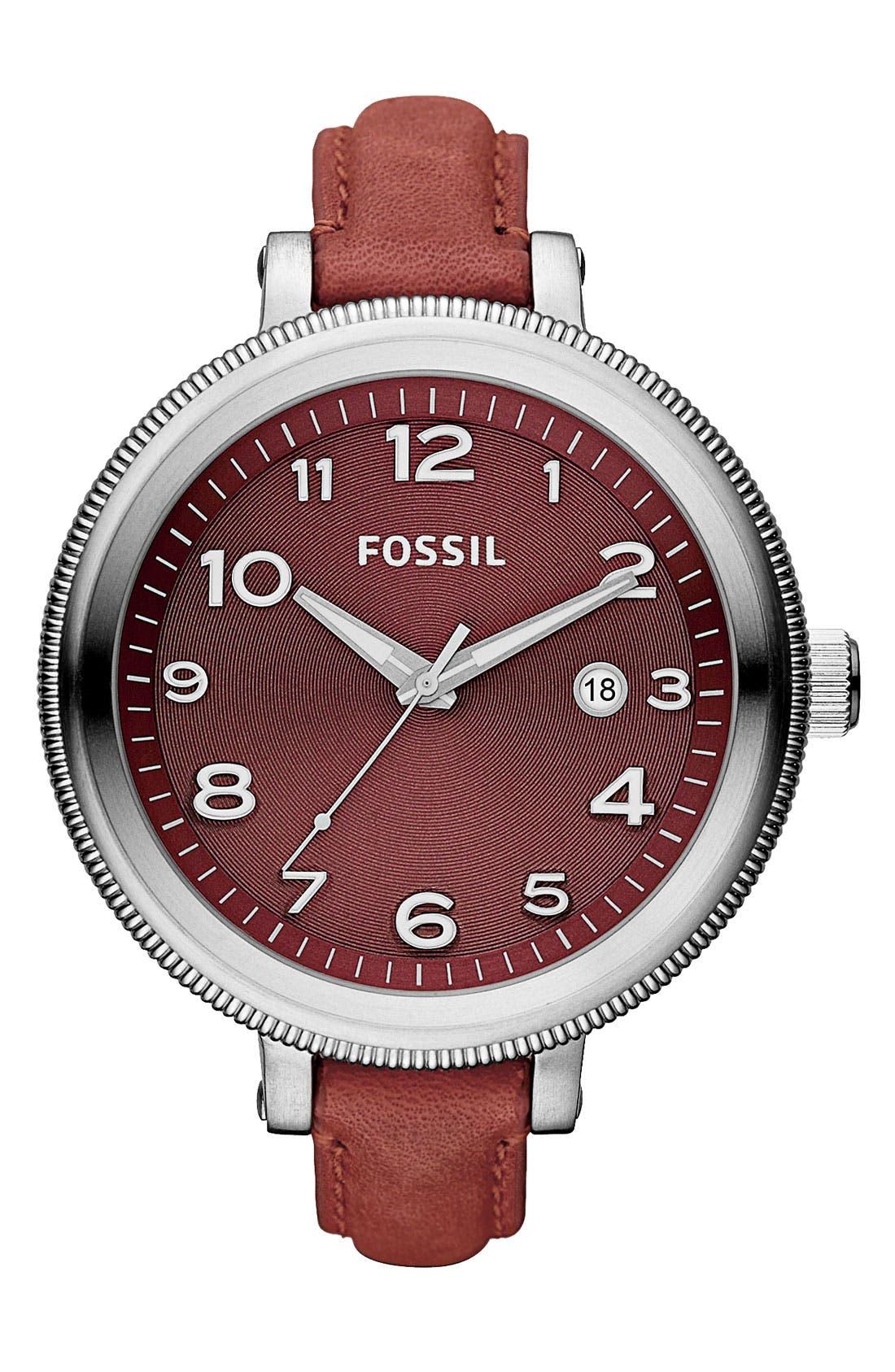 Main Image - Fossil 'Bridgett' Leather Strap Round Watch