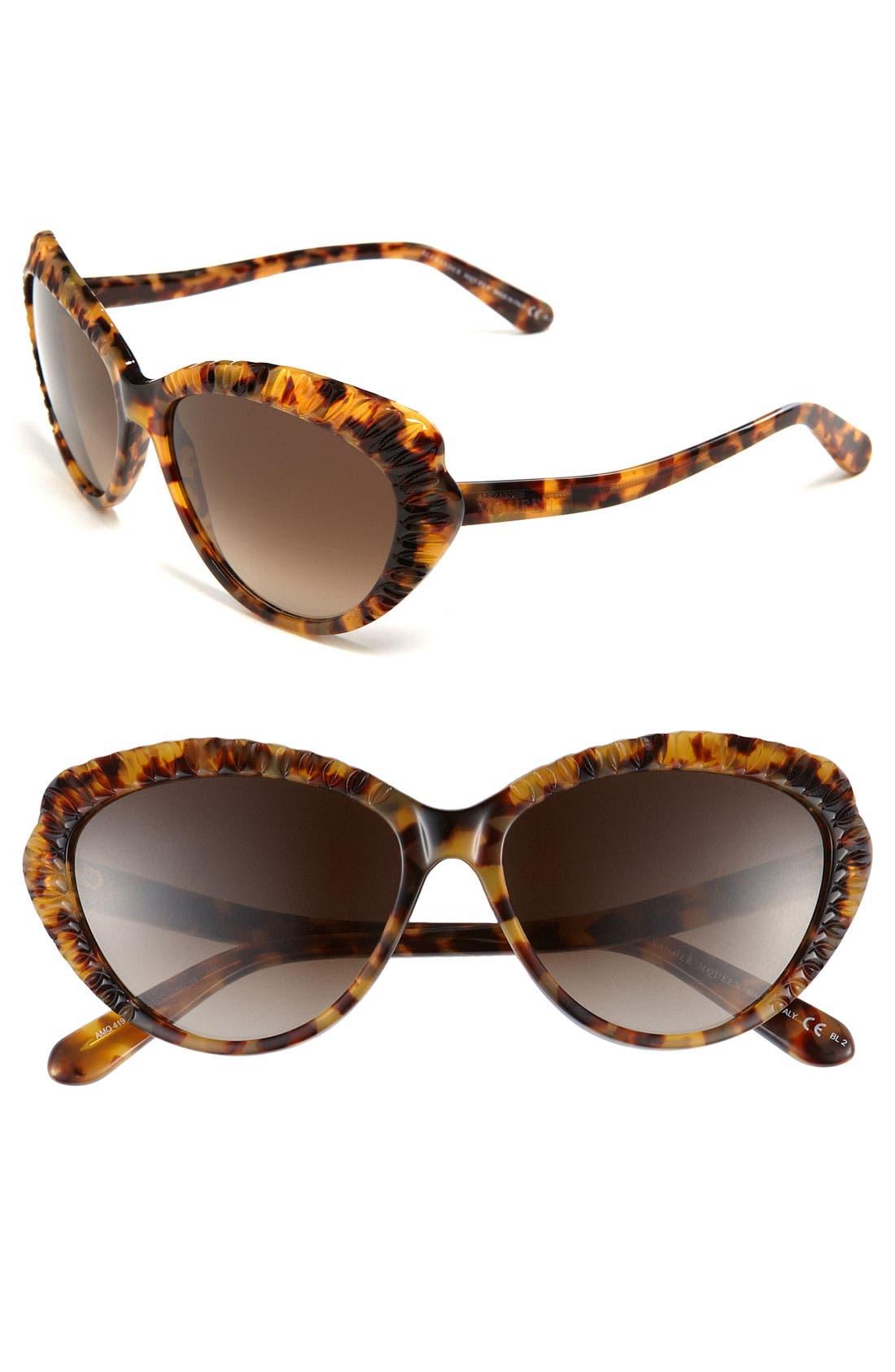 Alternate Image 1 Selected - Alexander McQueen 56mm Cat Eye Sunglasses