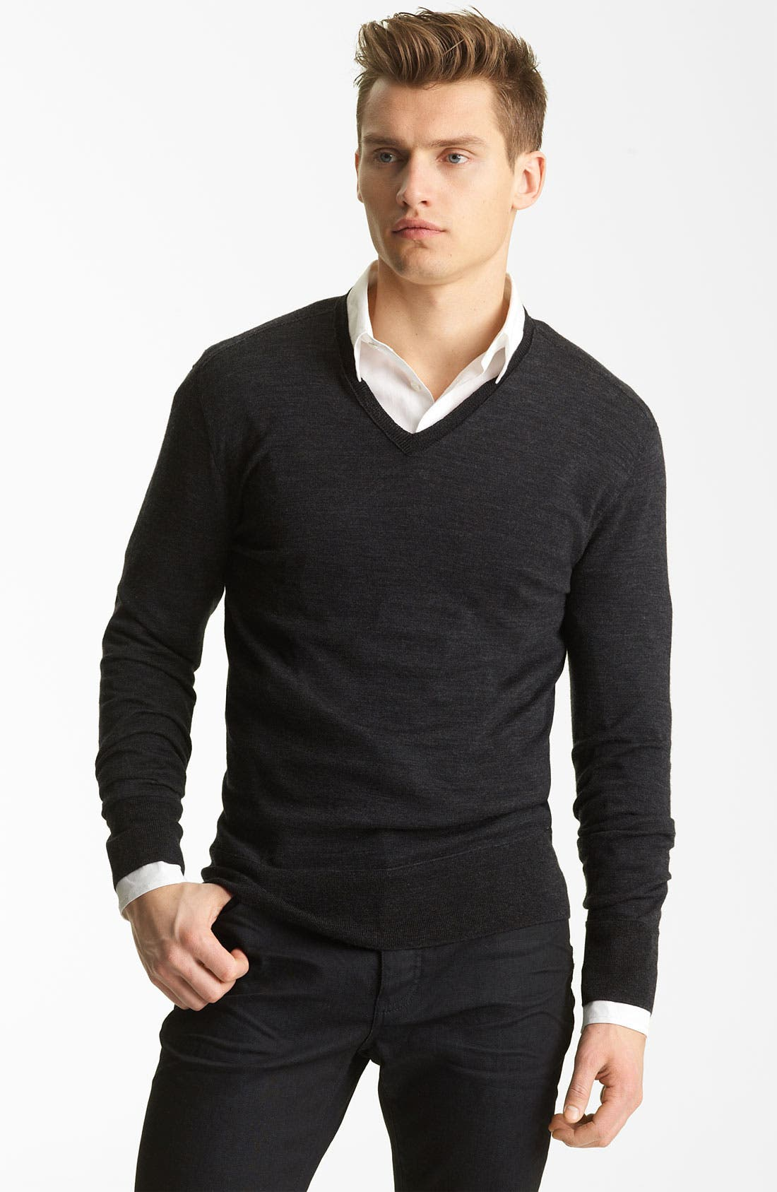 Alternate Image 1 Selected - John Varvatos Collection V-Neck Wool Knit Sweater