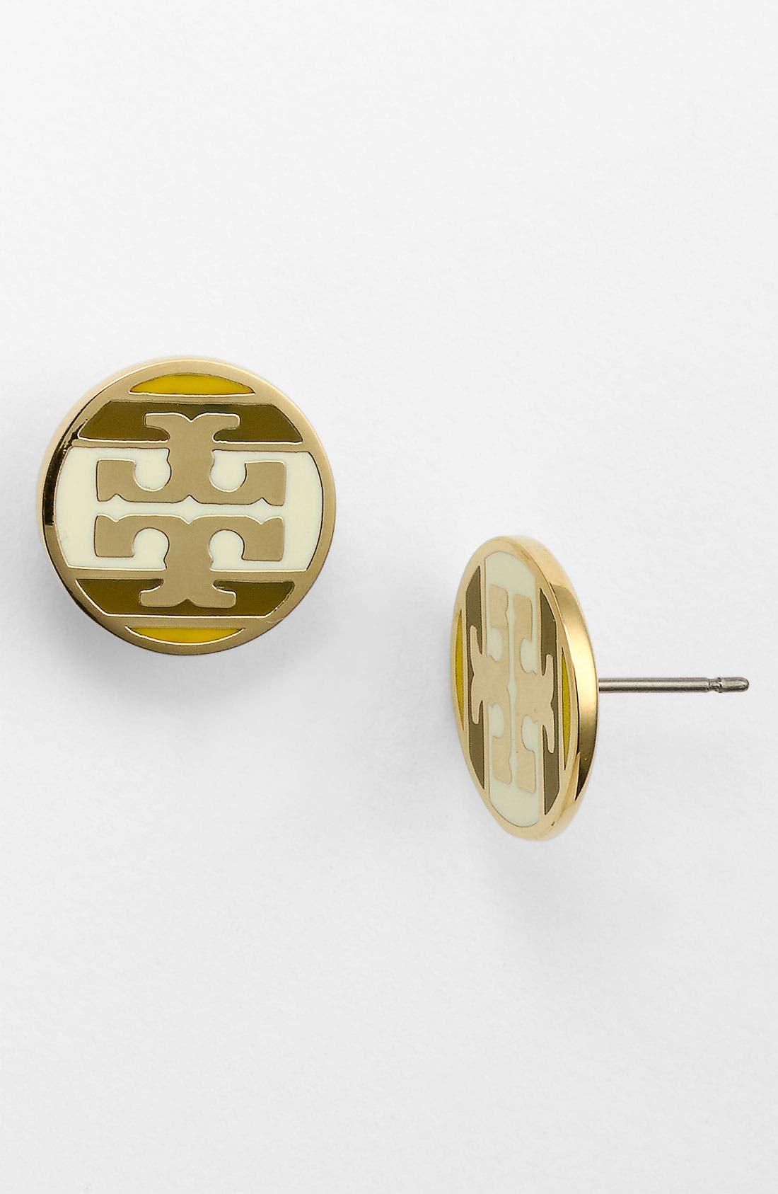 Alternate Image 1 Selected - Tory Burch Stripe Logo Stud Earrings